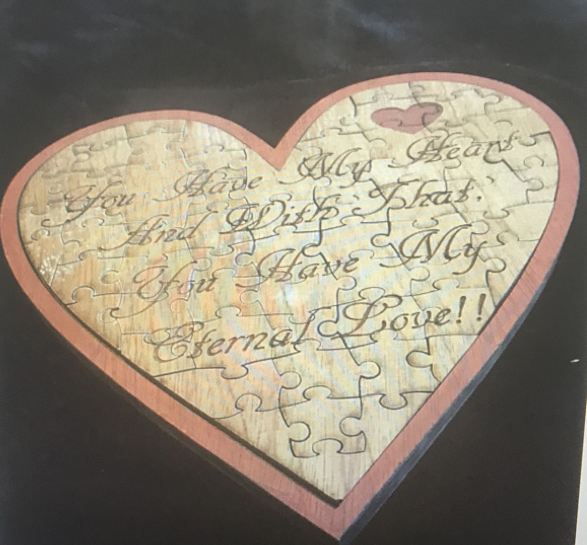 puzzle wood engraved heart