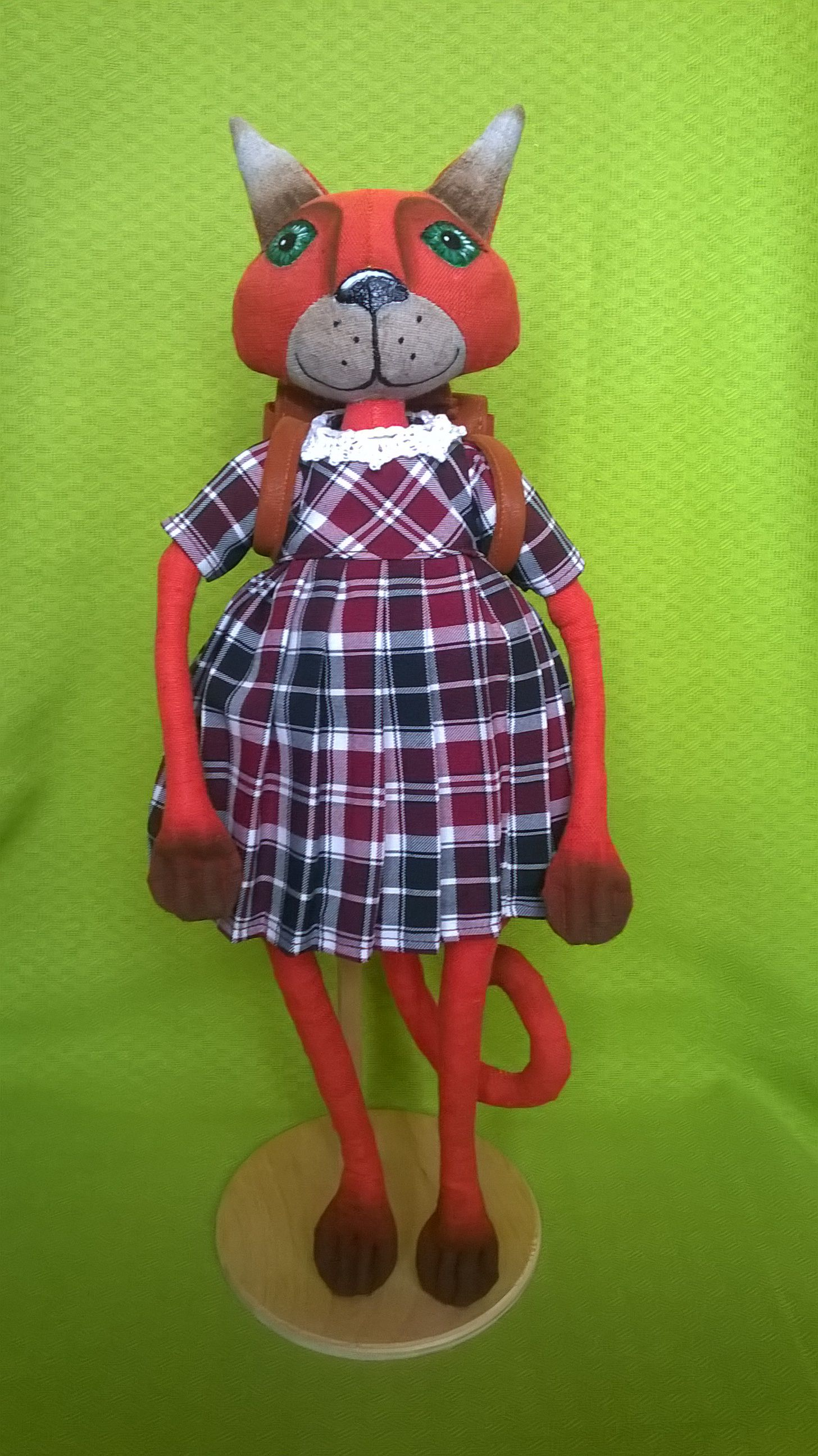 school doll handmade cat