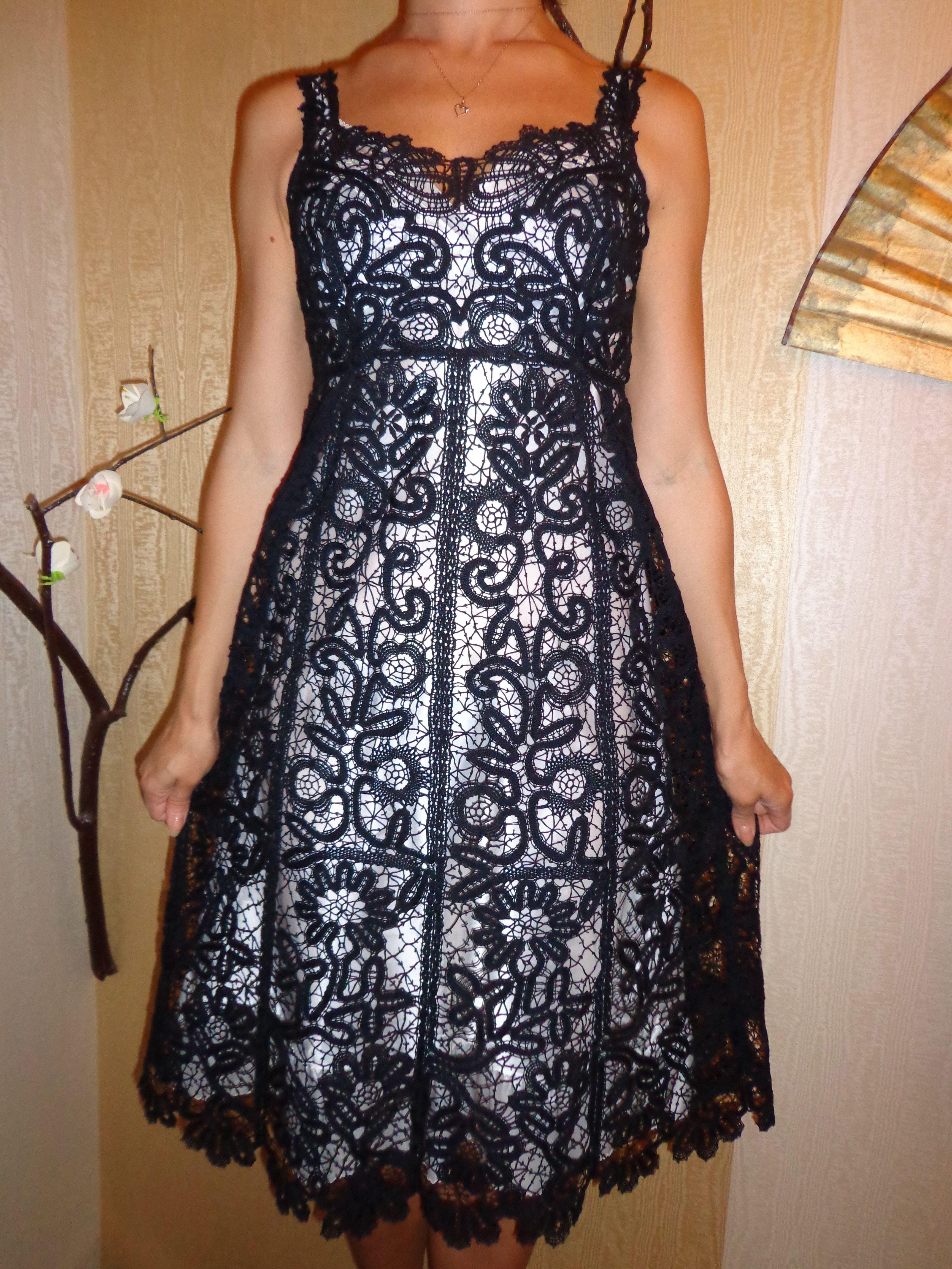 clothes knitting black bobbines dress lace