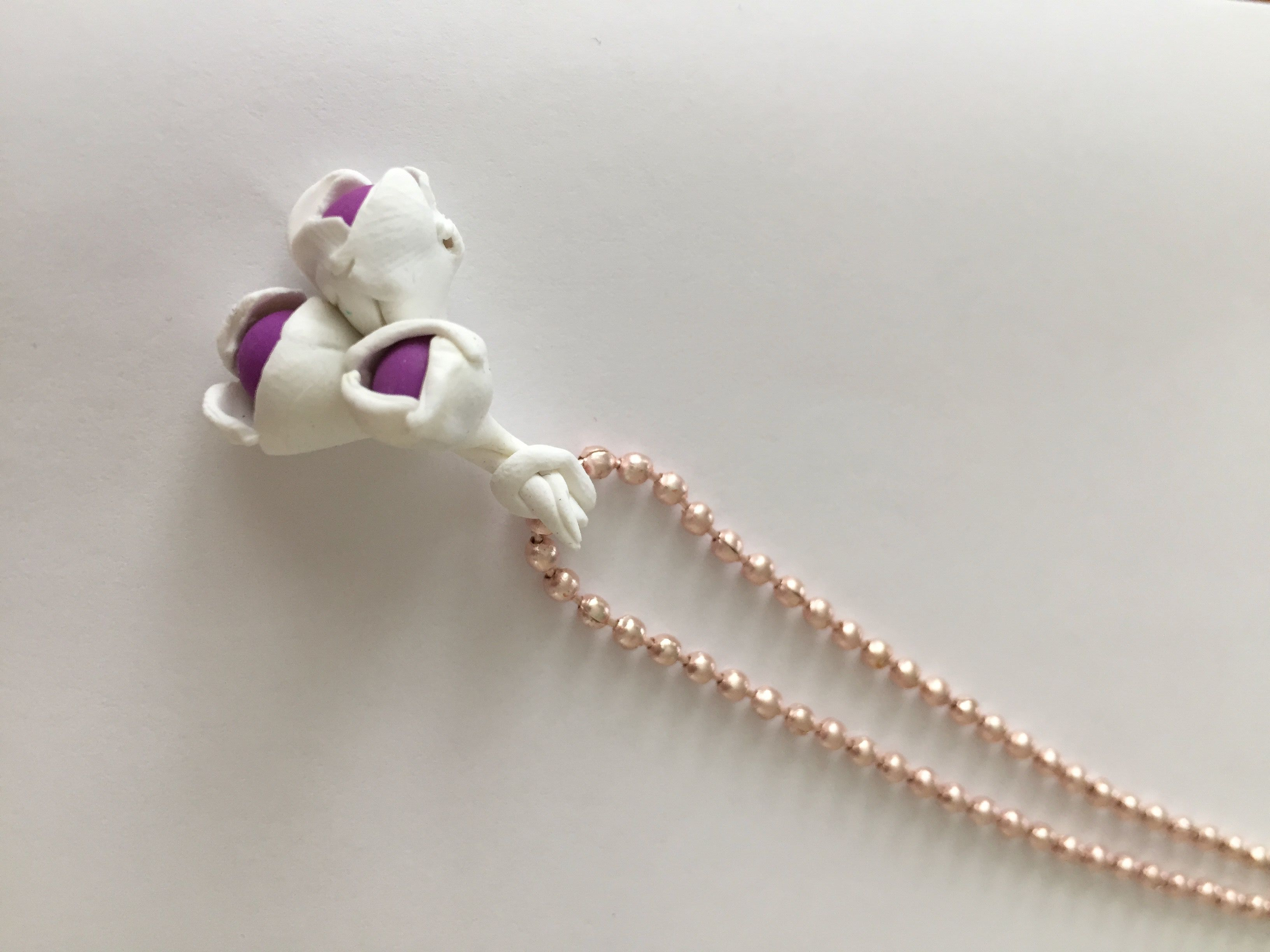 plated white hand bouquet gold polymer necklace beads clay rose sculpted