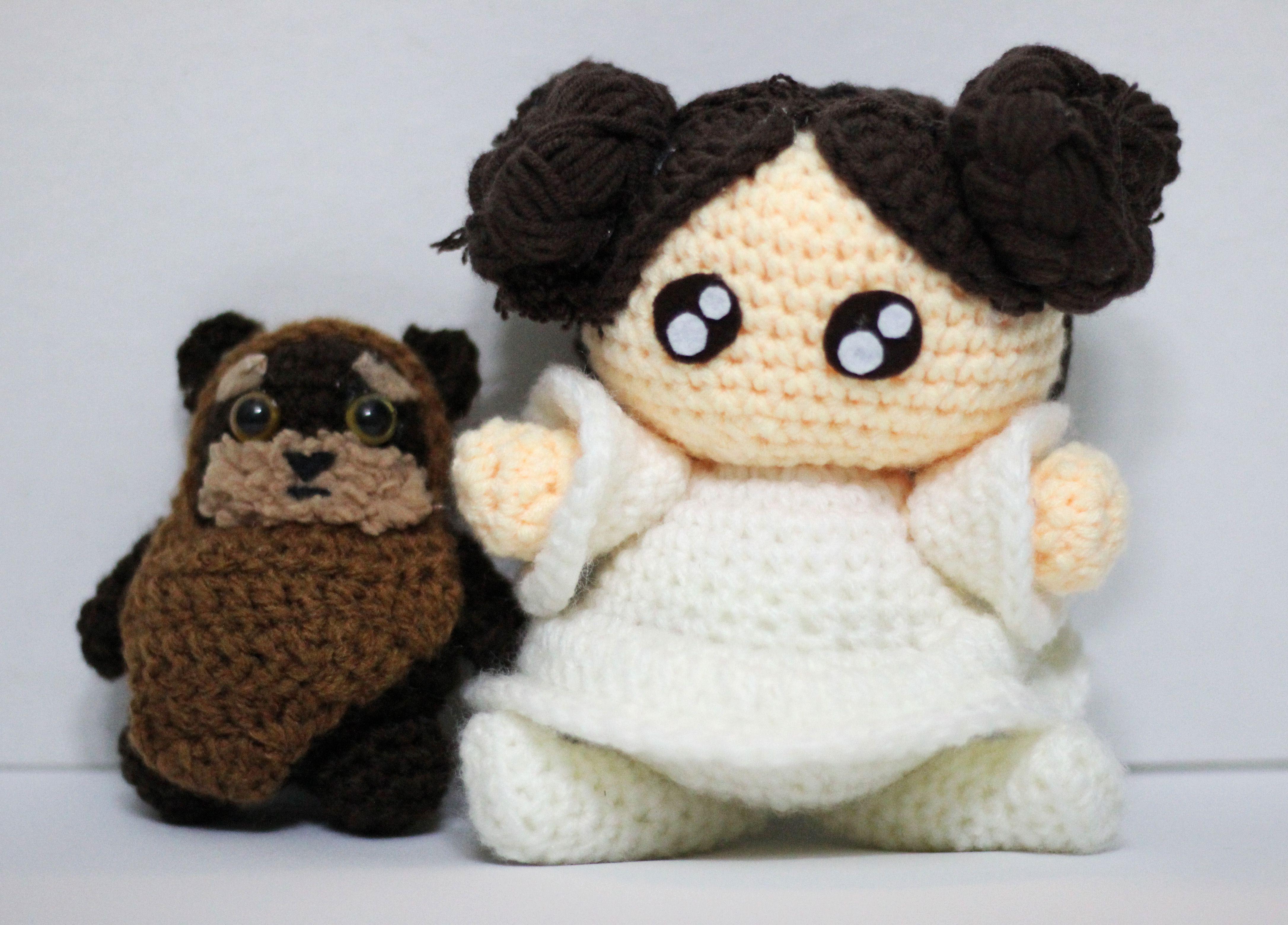 star doll wars ewok leia cute princess knit handmade toys yarn plushie nhimconshop plush