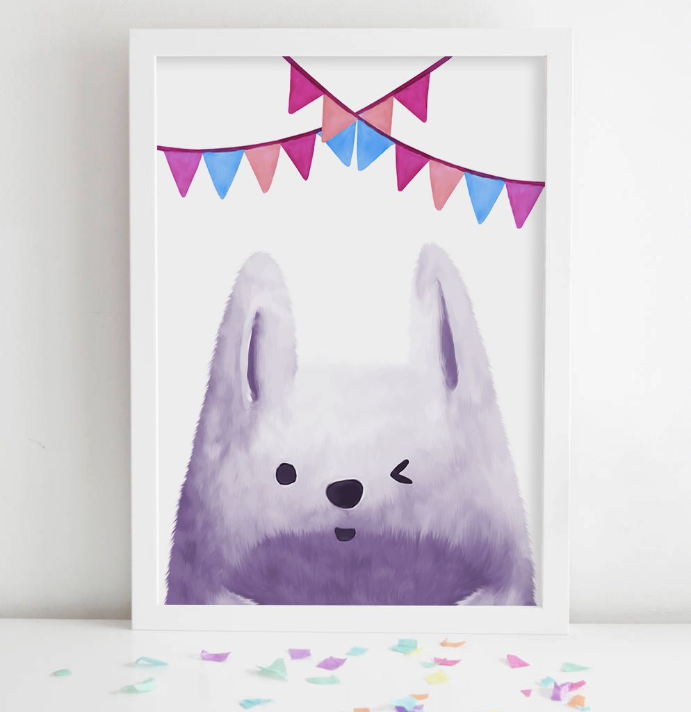 bunny rabbit woodland decor wall children nursery creatures print kids prints art