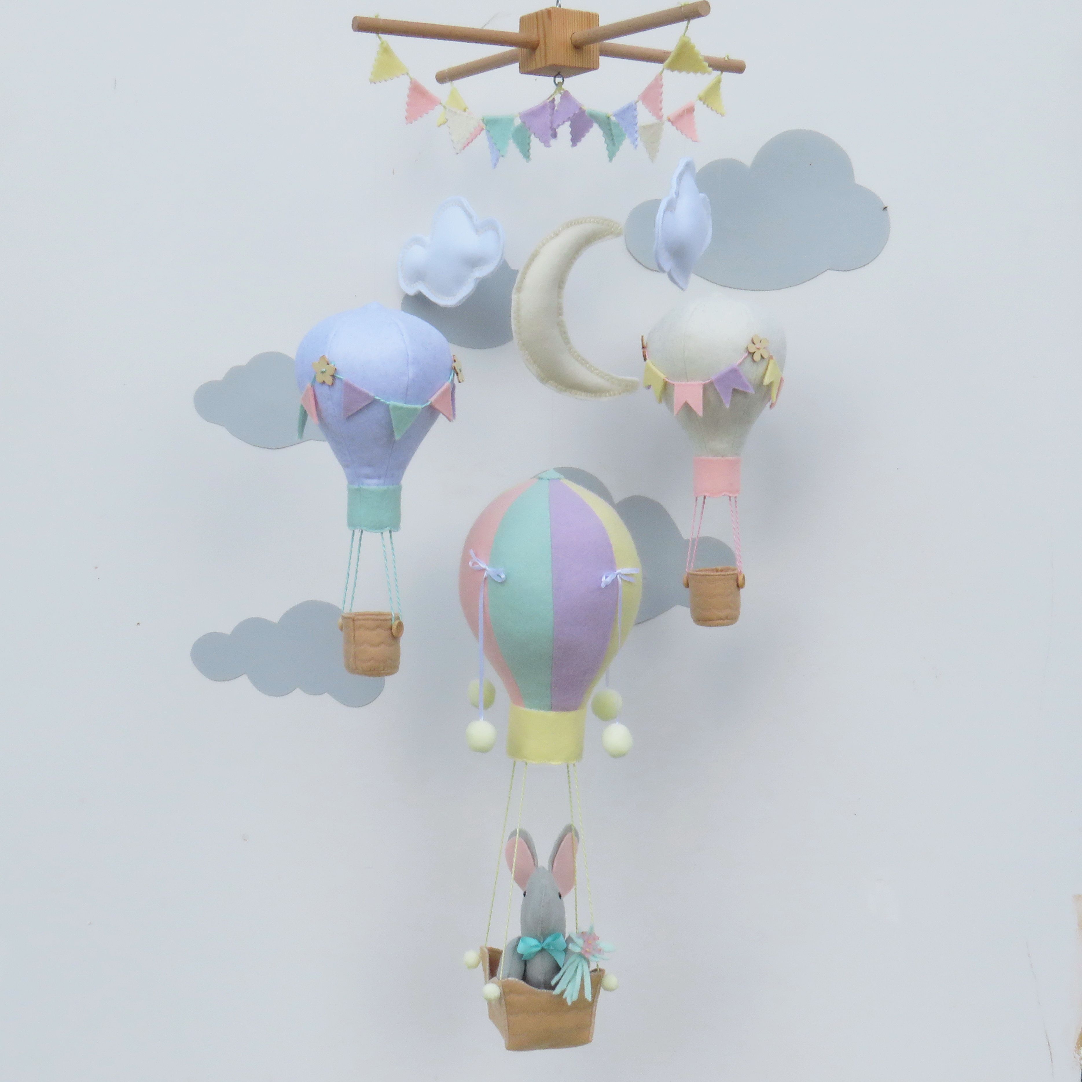 Baby Mobile Elephant In Hot Air Balloon Elephant Mobile