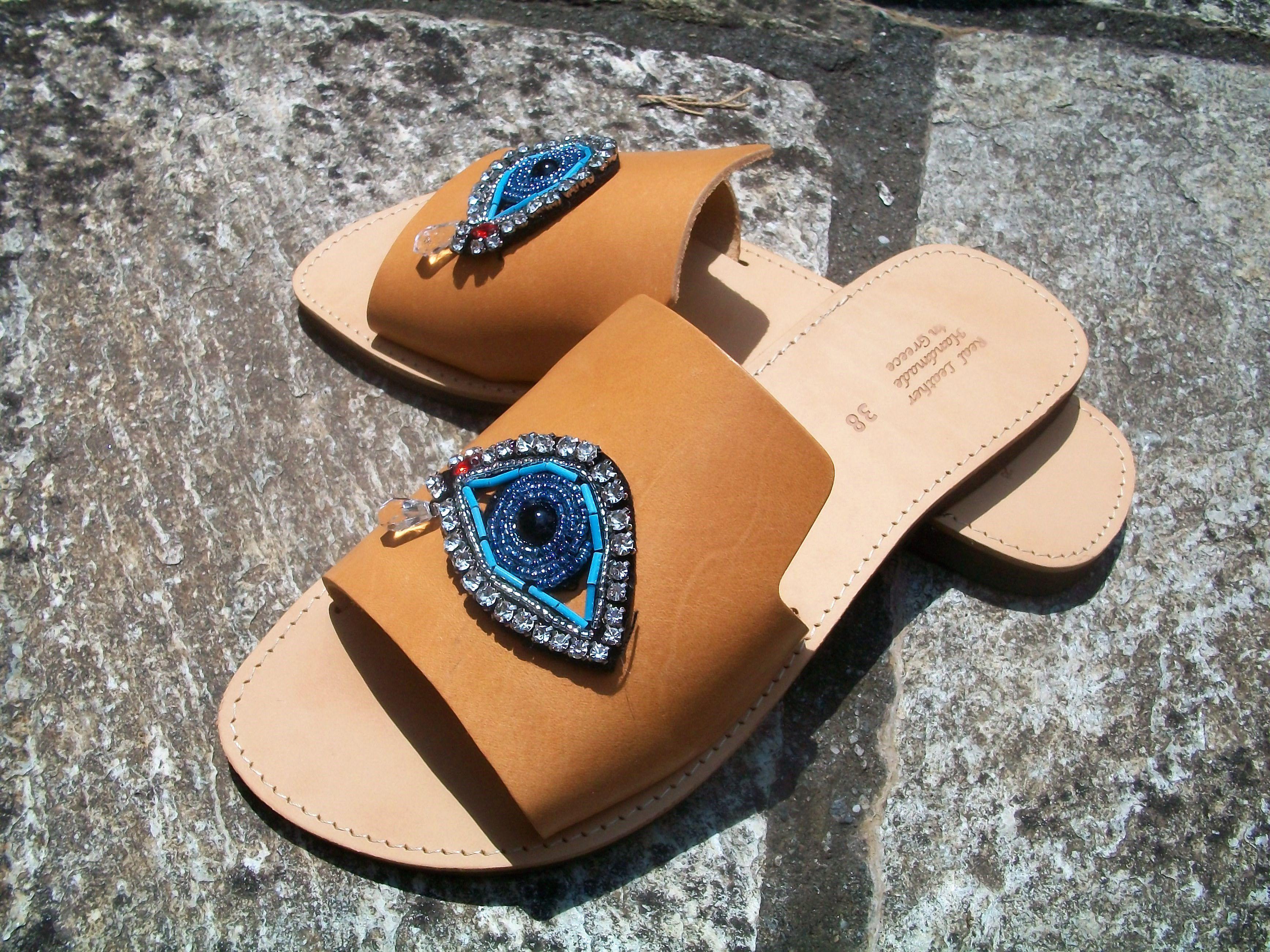 greek leather eye evil handmade sandals slip flat