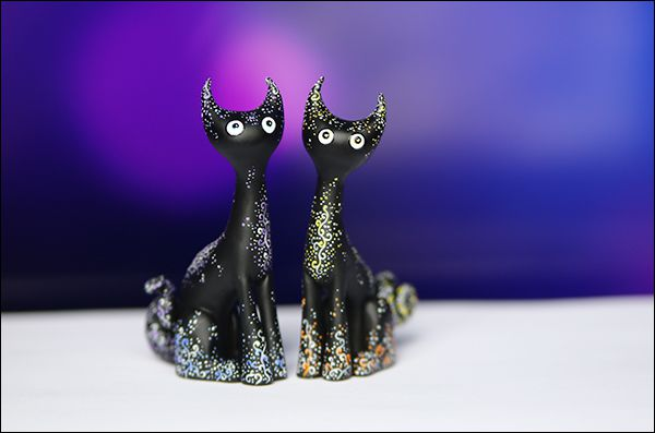 cat black darkness sculpey midnight