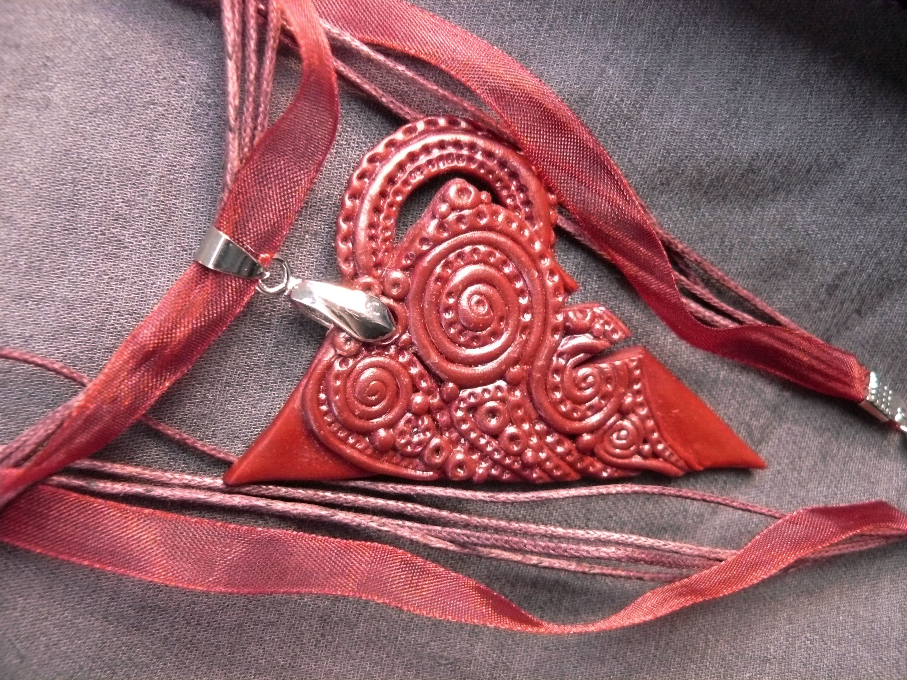 pendant clay jewelry bordo red