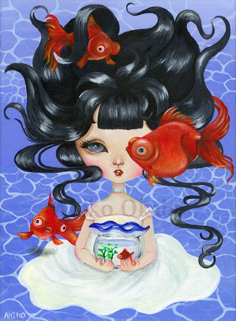 girl paint goldfish blue popsurrealism relax