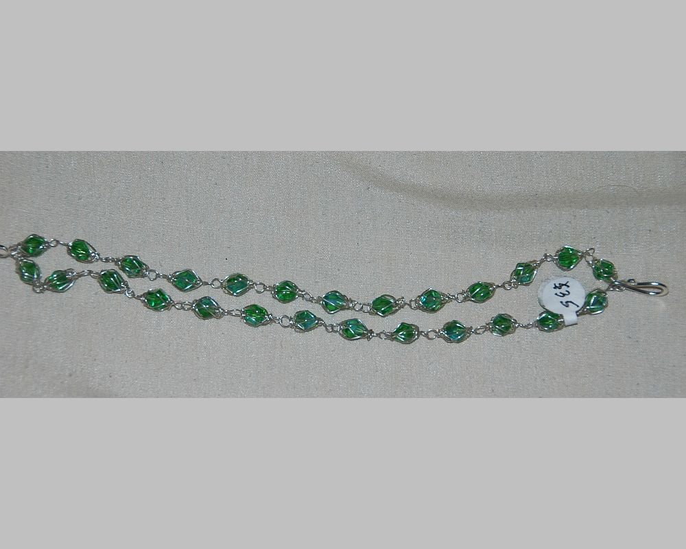 wire hand green wrapped jewelry bracelet silver made