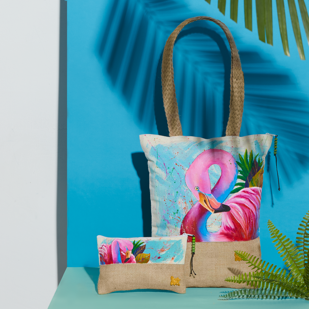 summer cotton canvas birds organic flamingo nature bags handcrafted handpainted totes fauna pouches