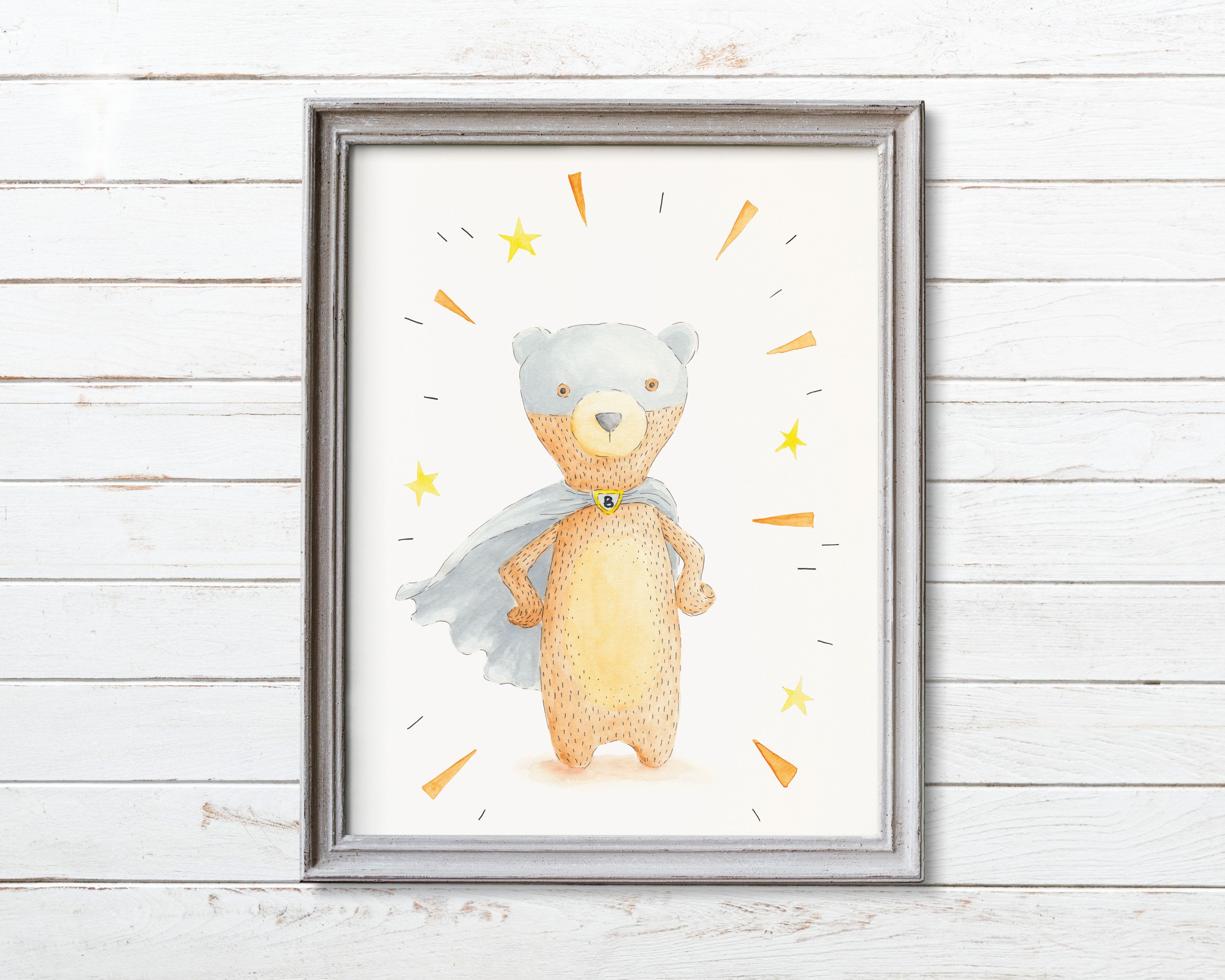 Printable kids room wall art boyroomdecor bearprint superherobear nurseryprint