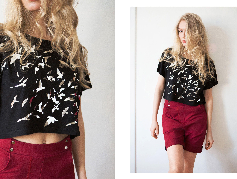 shirt eucalyptus top birds fish black