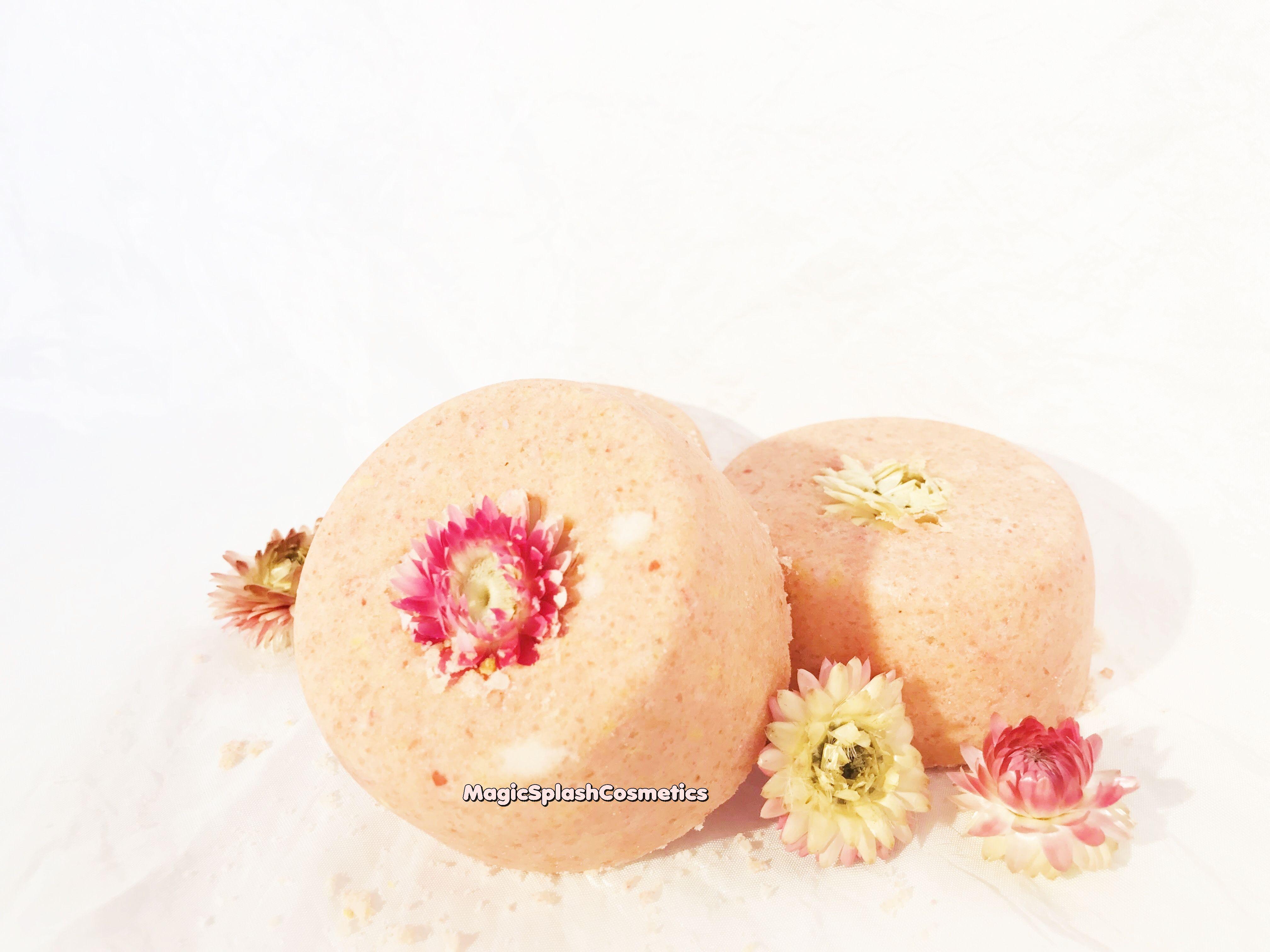 bathbomb organic homewellness vegan pink gift giftset setof3 flowerbath crueltyfree orange forher jasmine spa skincare flower
