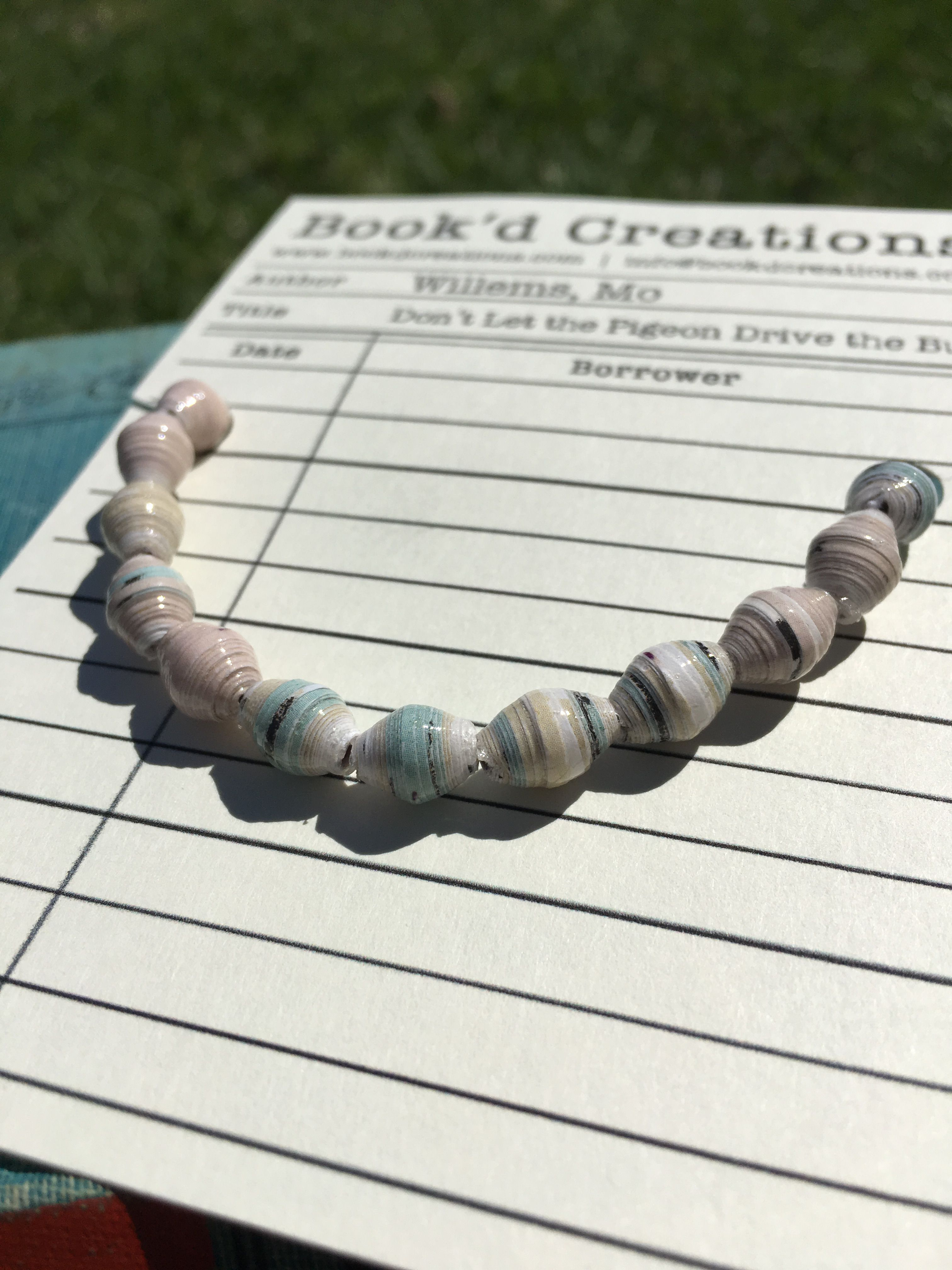 bookworms librarians teachers booklovers mowillems gifts jewelry bracelet beads paper kids