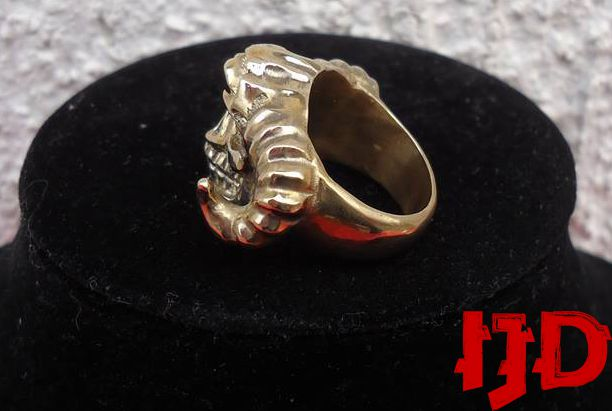 demon satanic black lucifer head golden jewelry metal ring statement gothic baphomet