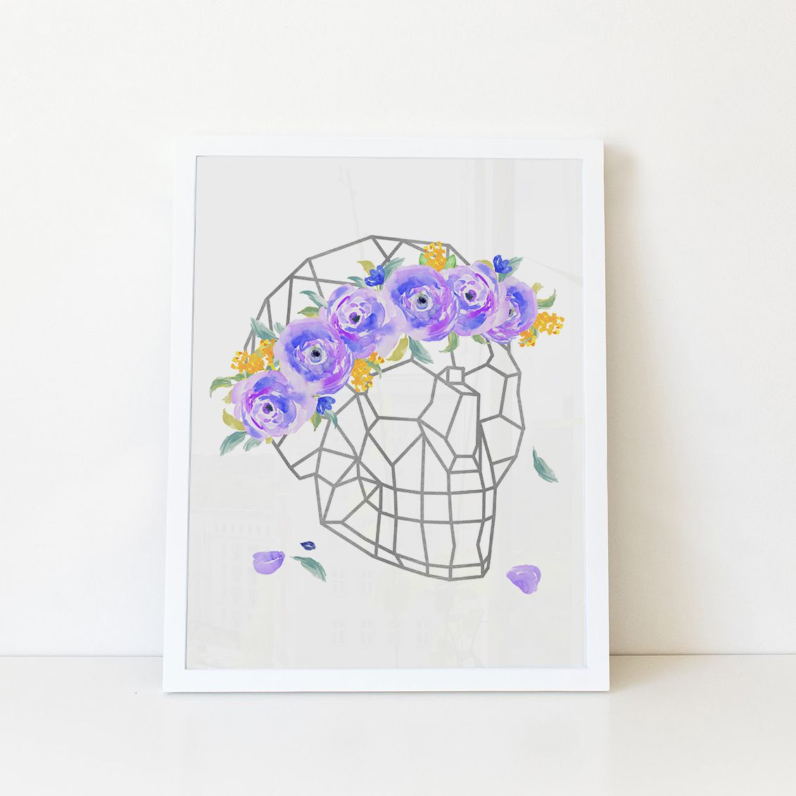 decor skull wall crown watercolor foil floral silver geometric print art