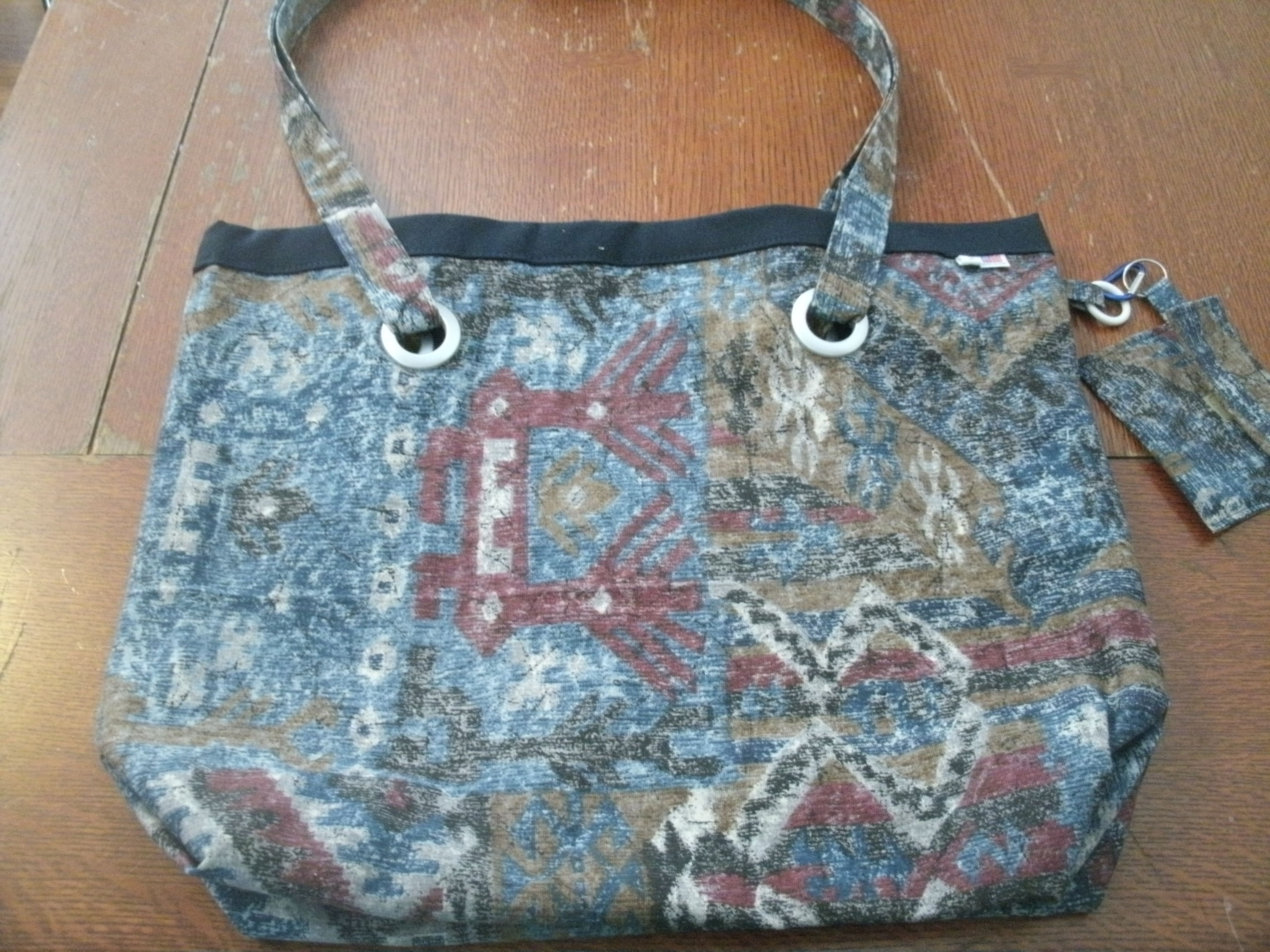 Large Heavy Duty Native American Design Upholstery Fabric Tote W