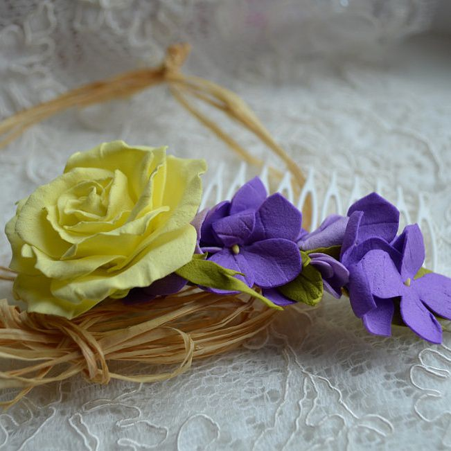 rose comb yellow hair accessoirs hydrangea