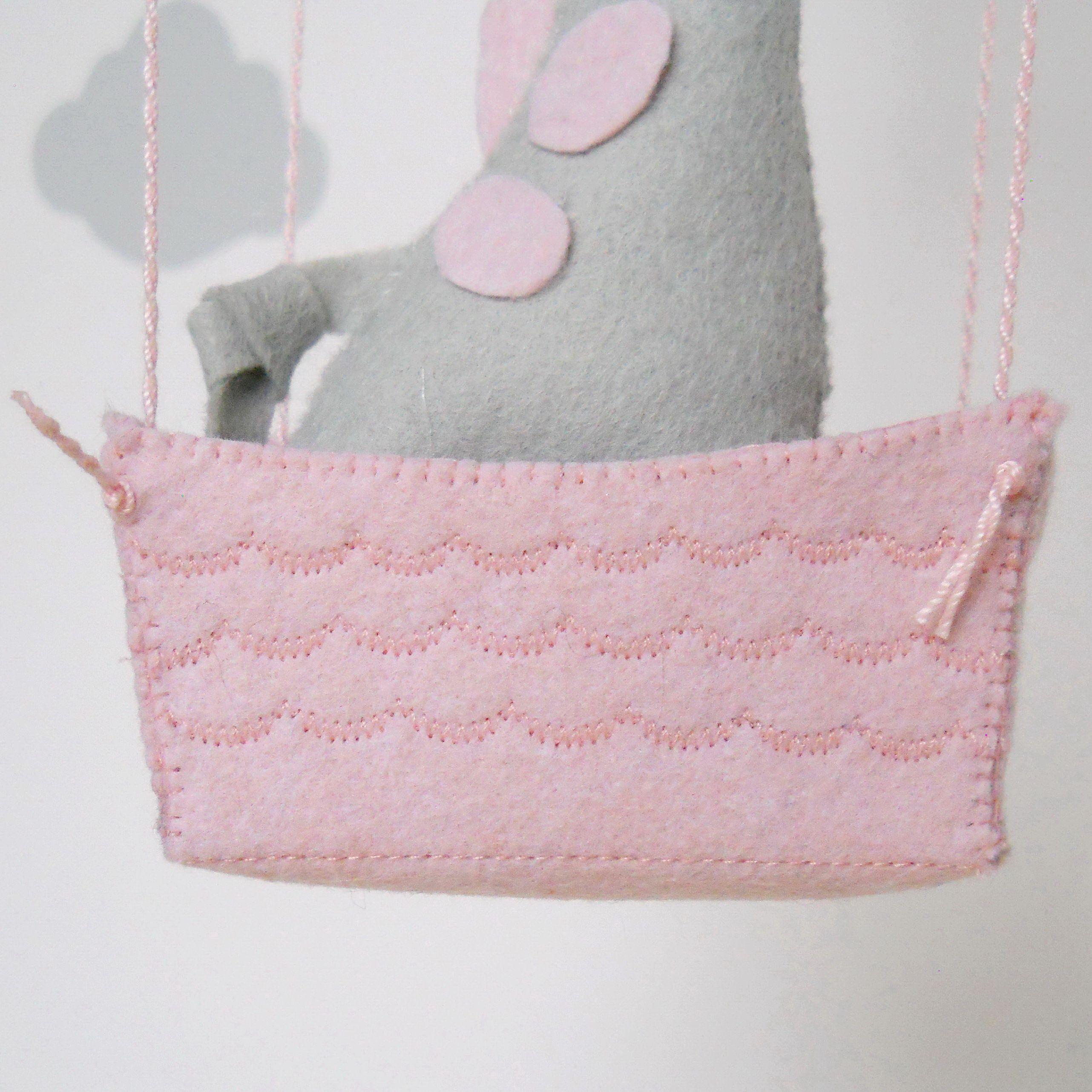 girl felt mobile crib baby decor pink giraffe balloon nursery