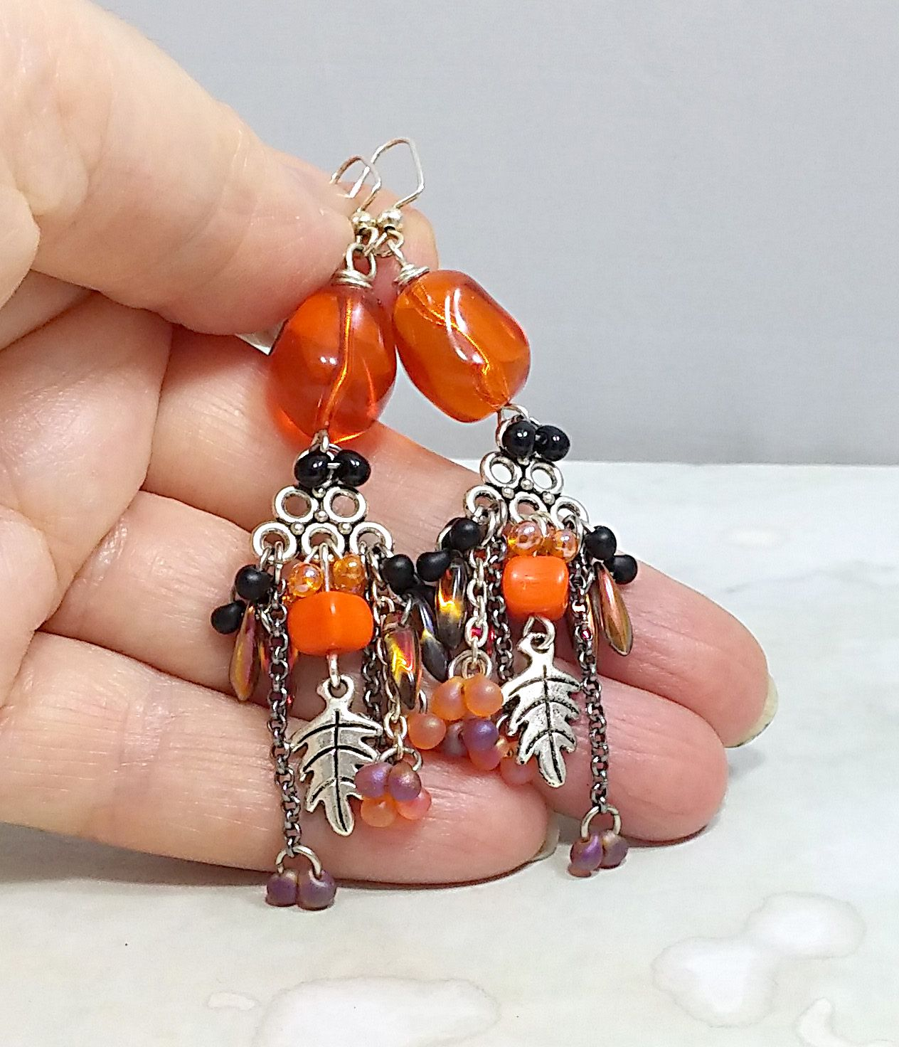 autumn beaded uniquejewelry harvest atumncolors orange earrings jewelry thanksgiving