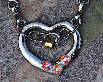 swarovski heart silver romantic mounting necklace cheerful delicate lovely sweet block valentine adorable brass fine