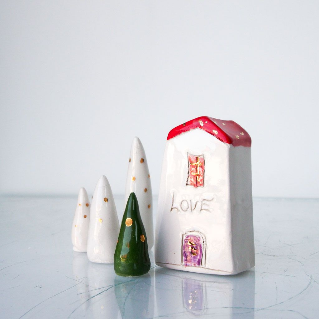 ceramics gift miniatures house handmade clay little her for love