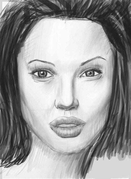 face female art pencil draw