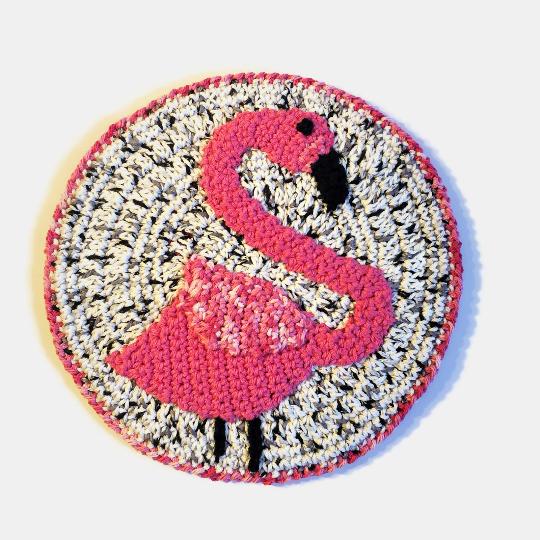 flamingo crochet kitchen