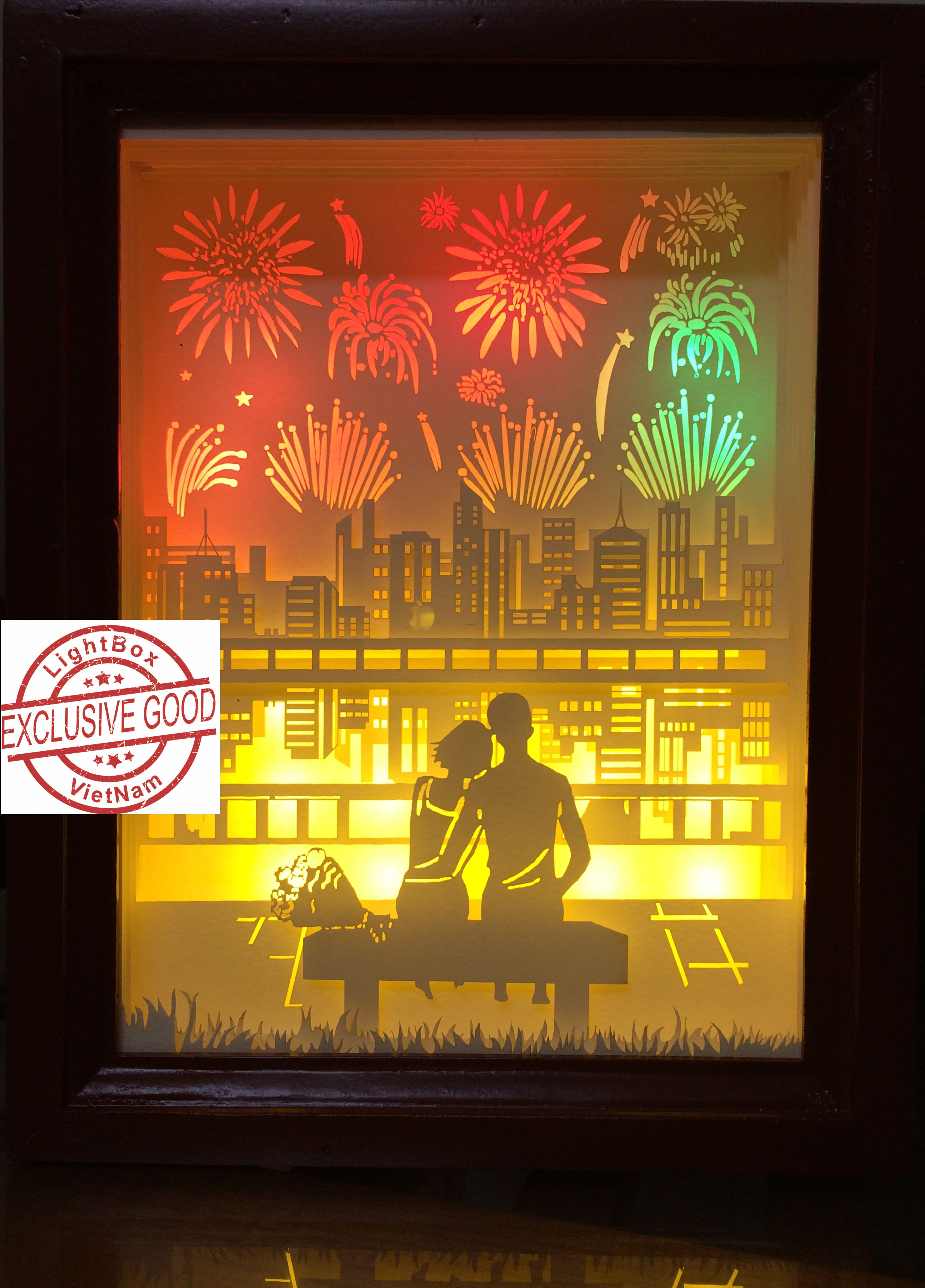 Couple Bedding: Paper Cut Light Box Couple And Firework Shadow Box