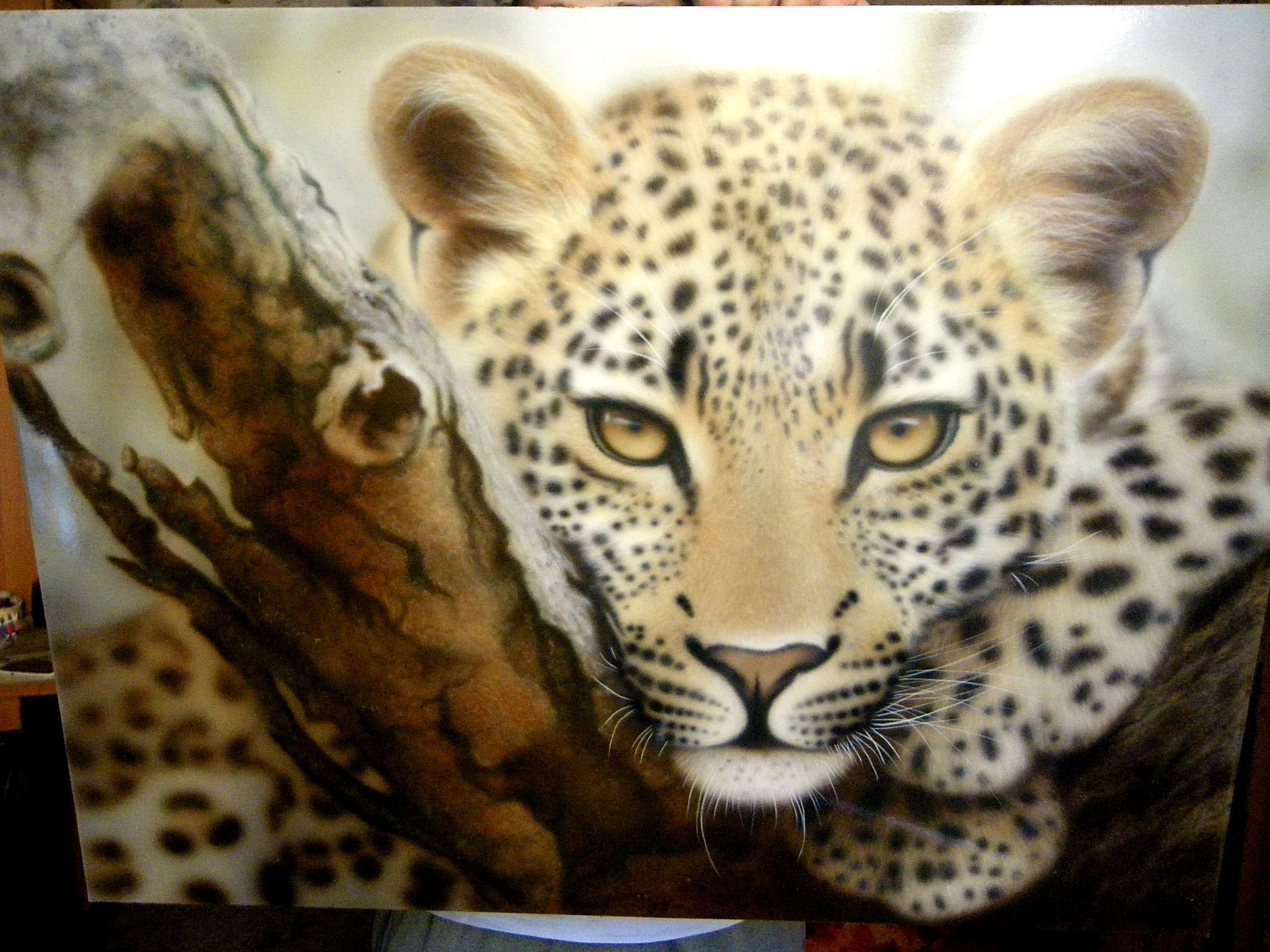acryl painting aerographics leopard animals