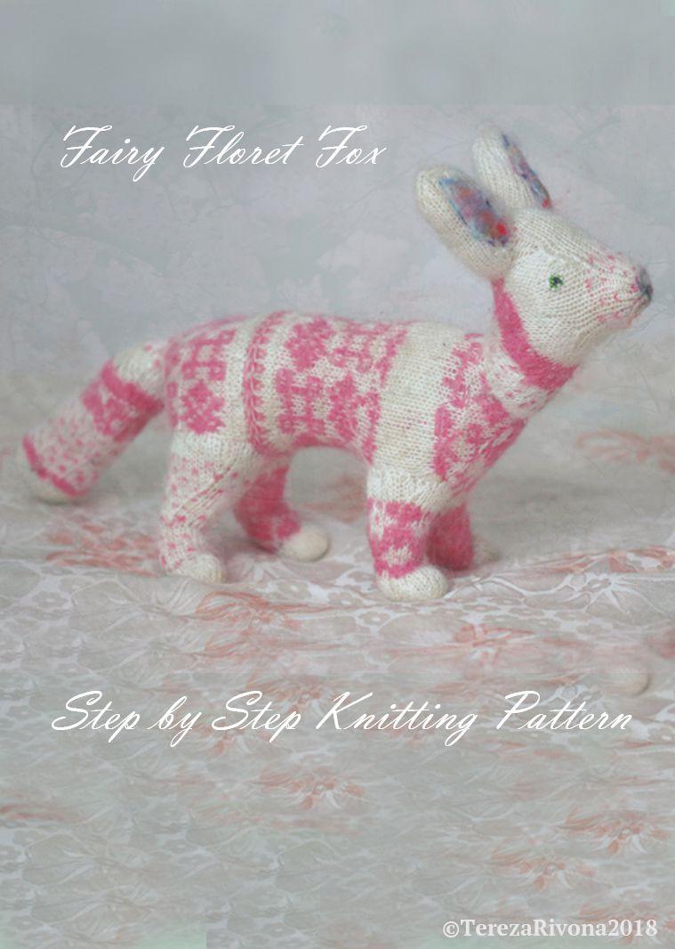 step color white fox pink knitting chart detail manual pattern animal