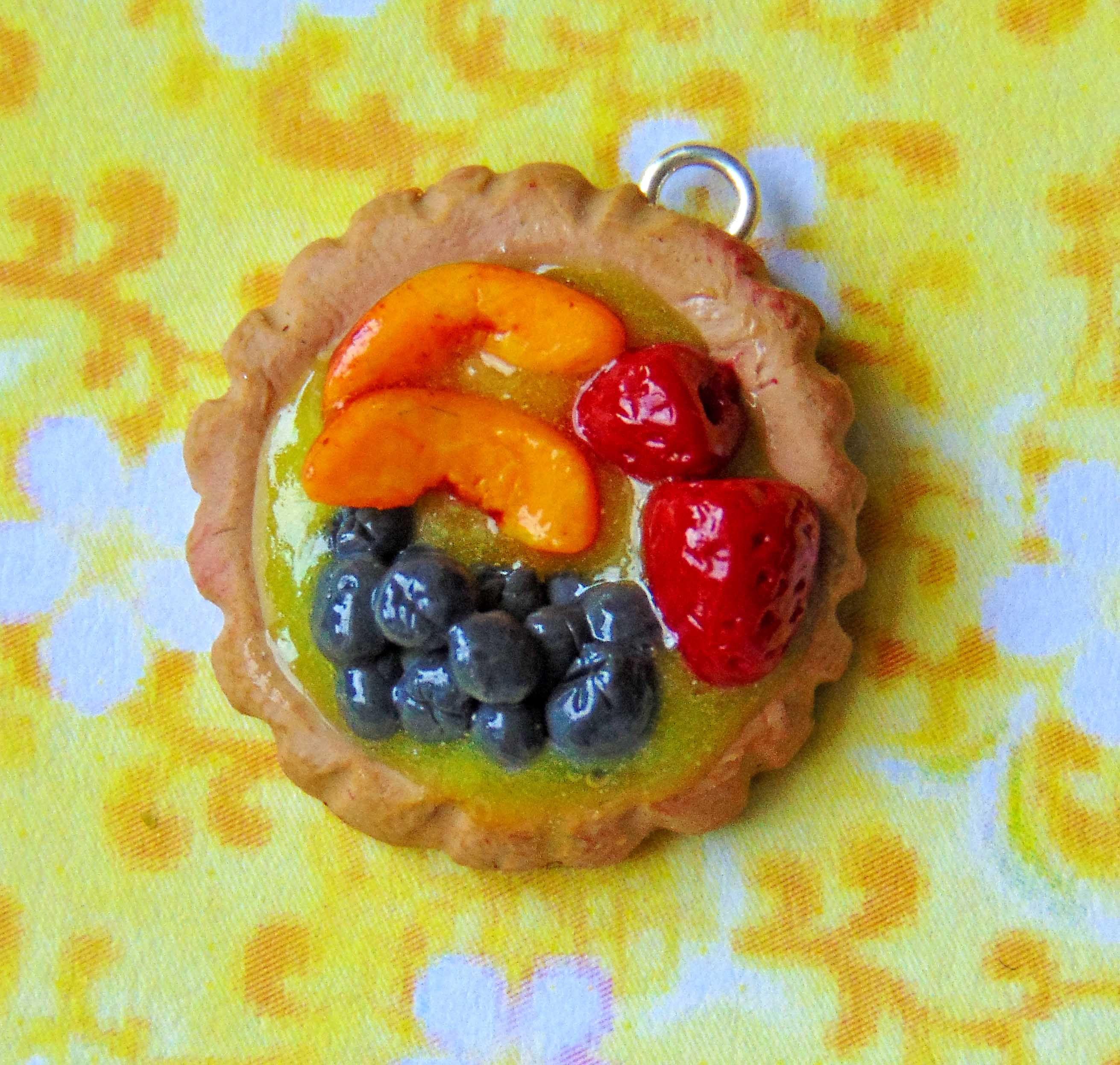 blueberry tart peach strawberry pie charm pendant cute fruit food sculpture polymer lemon clay cream sculpey