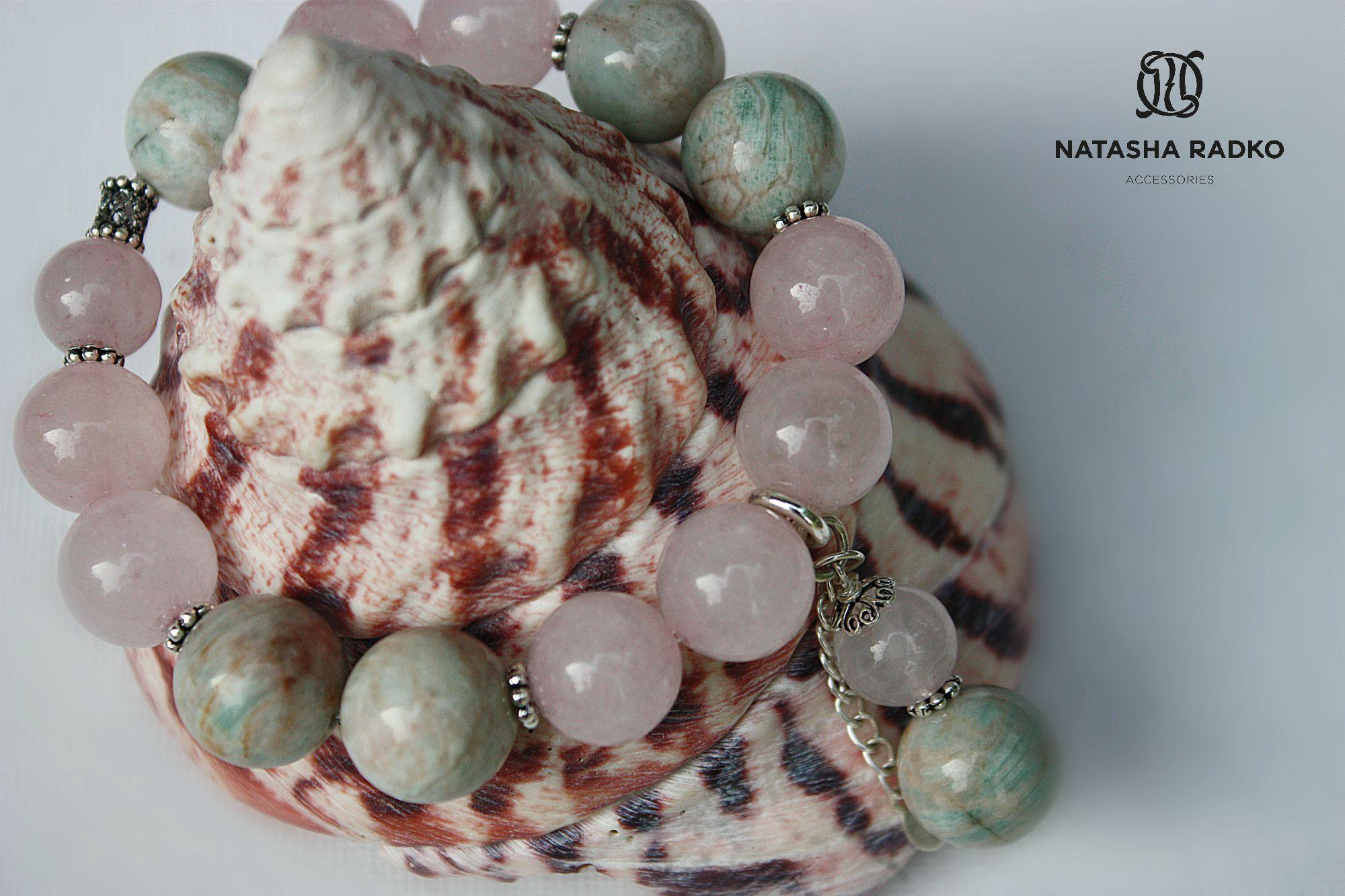 wristlet present rose silver quartz amazonite jewelry