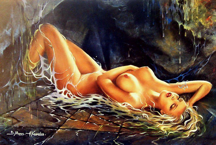 art painting girl erotic home modern