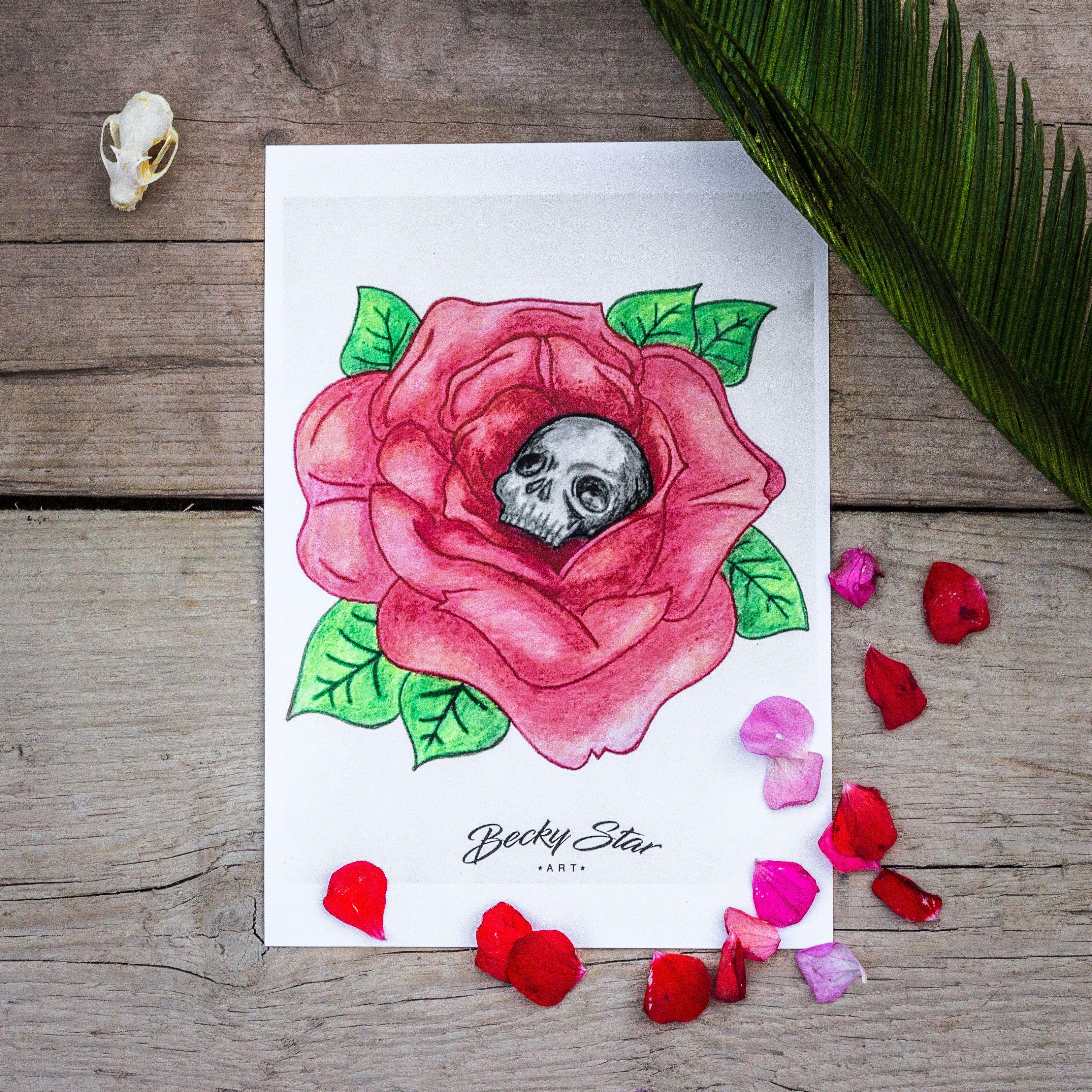 rose skull prints art
