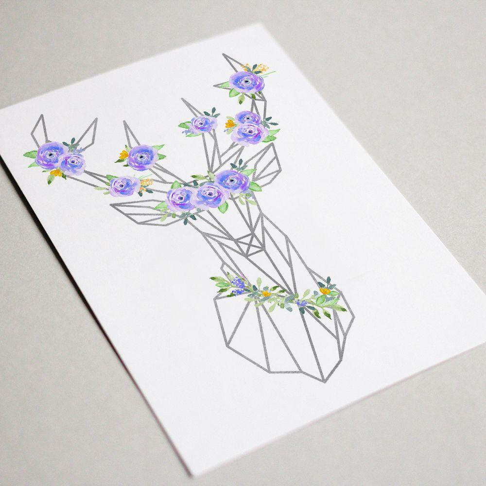 girl birthday poster decor deer printable boho wall head bohemian chic blue nursery print geometric prints art