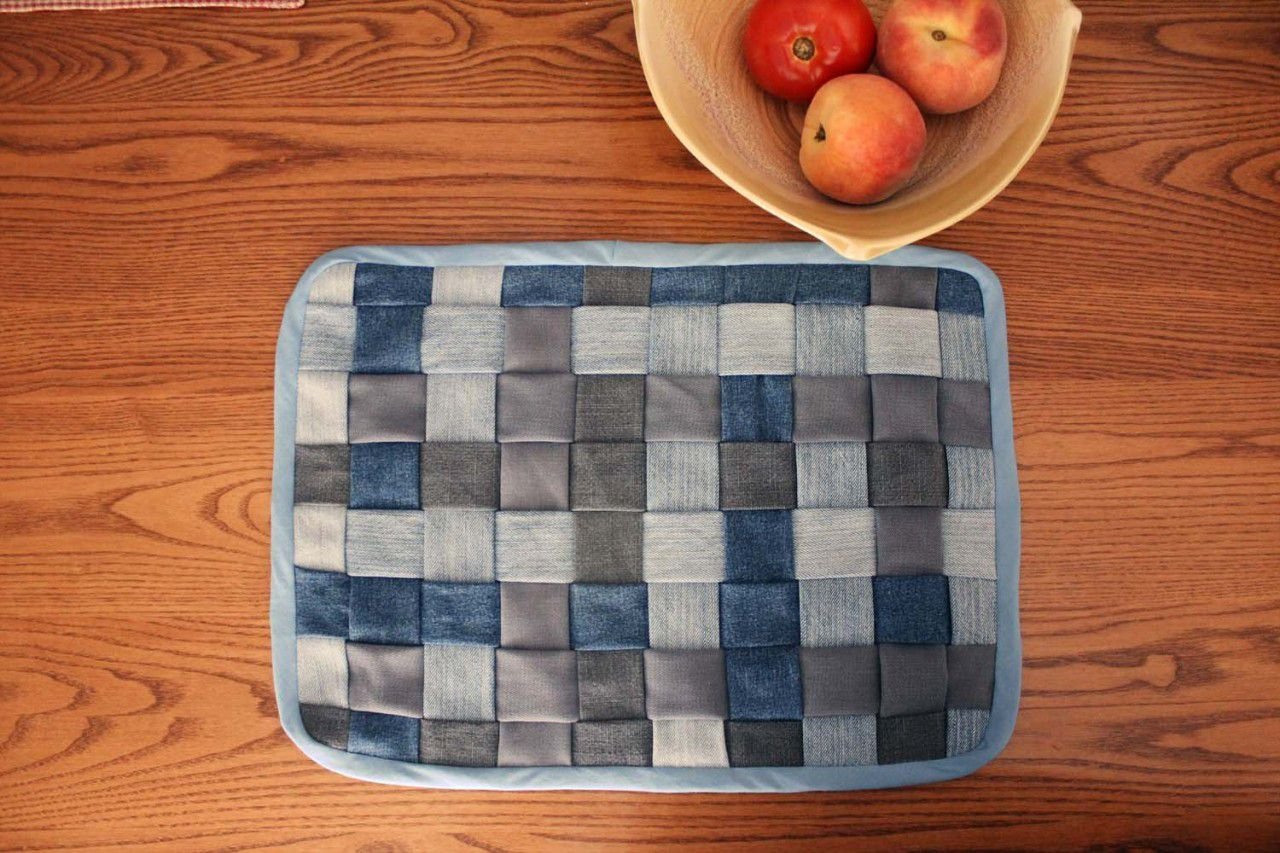 make jeans placemats fabric weaving