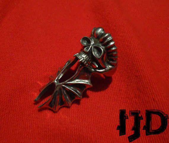 bat demon vampire satanic skull black lucifer jewelry metal pagan ring gothic