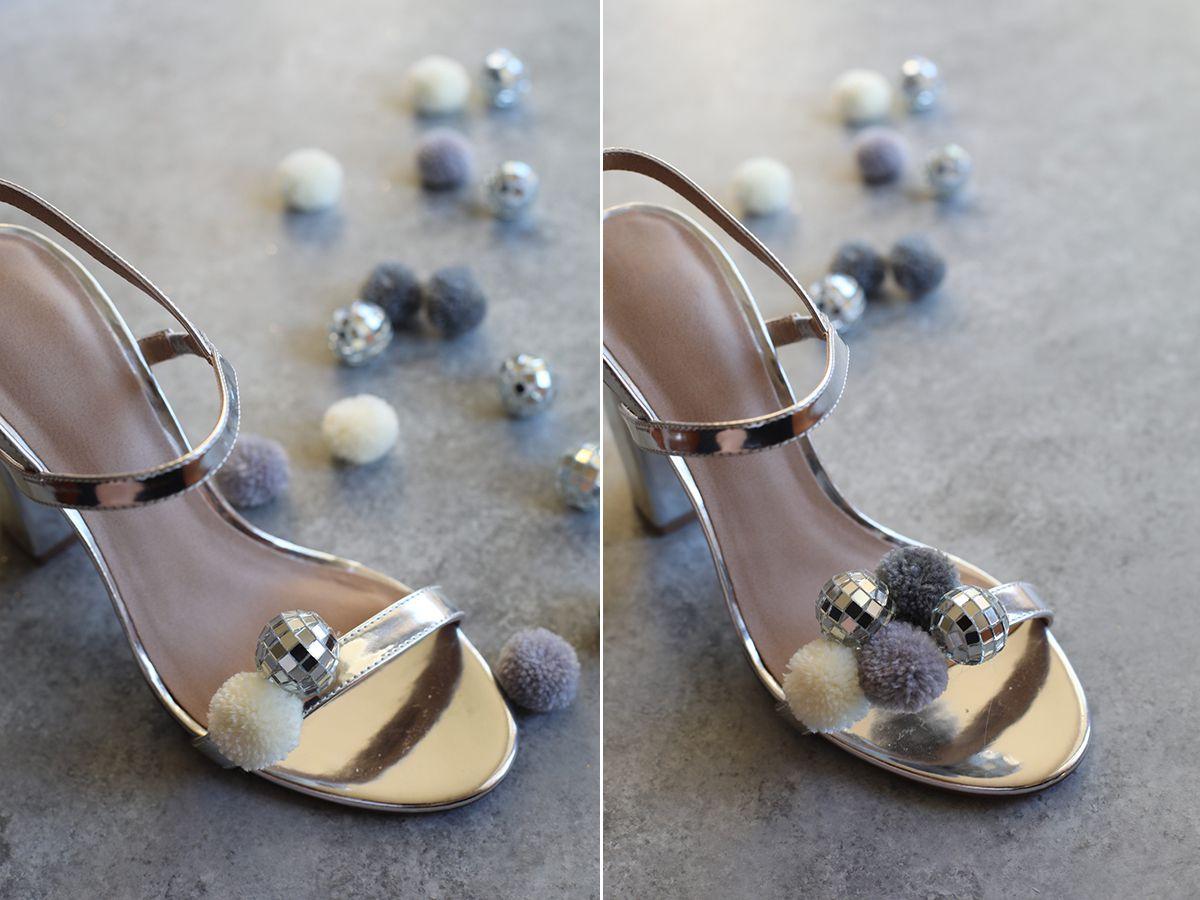 pom disco sandals heels metallic cool
