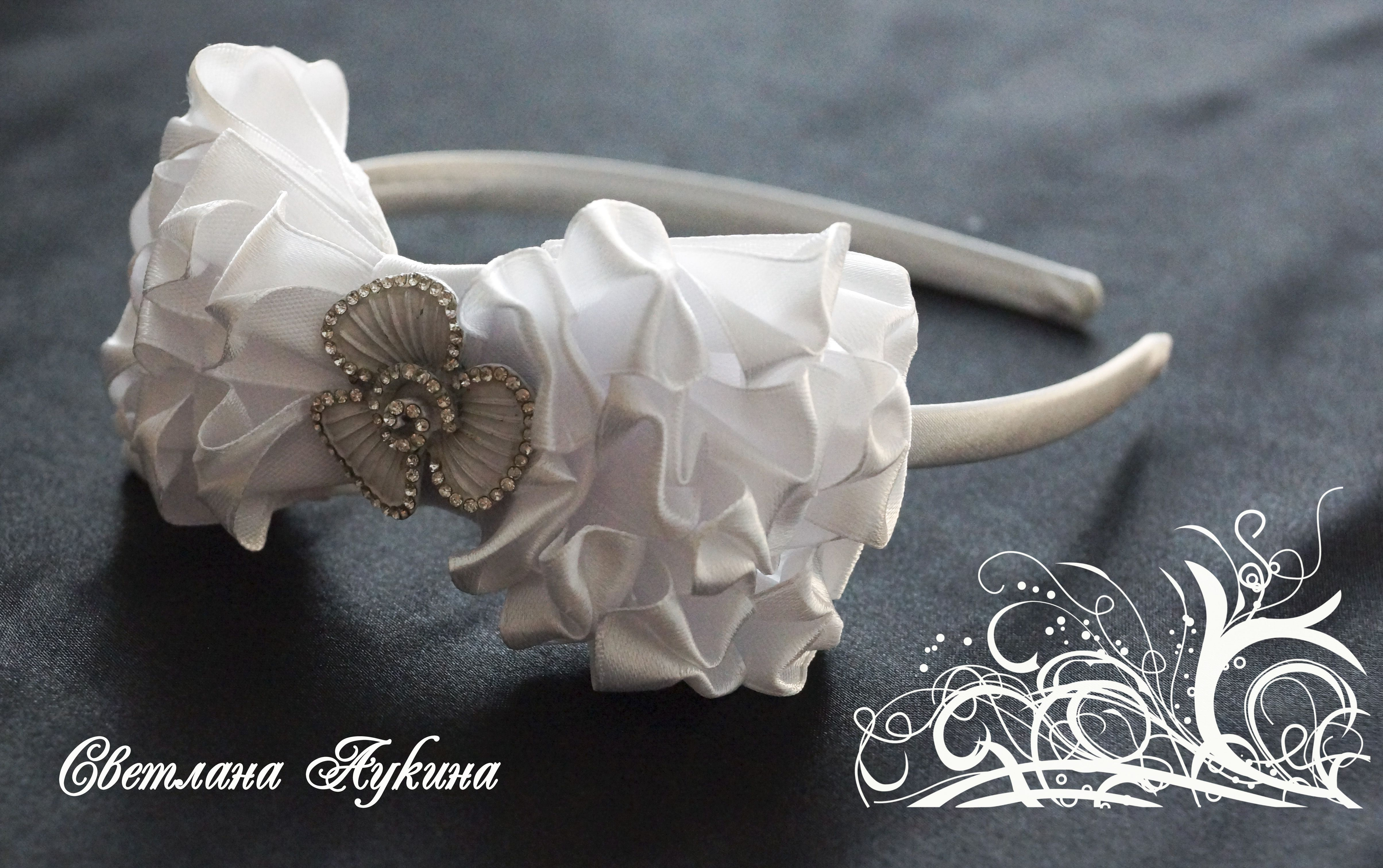 white bow school headband kids satin
