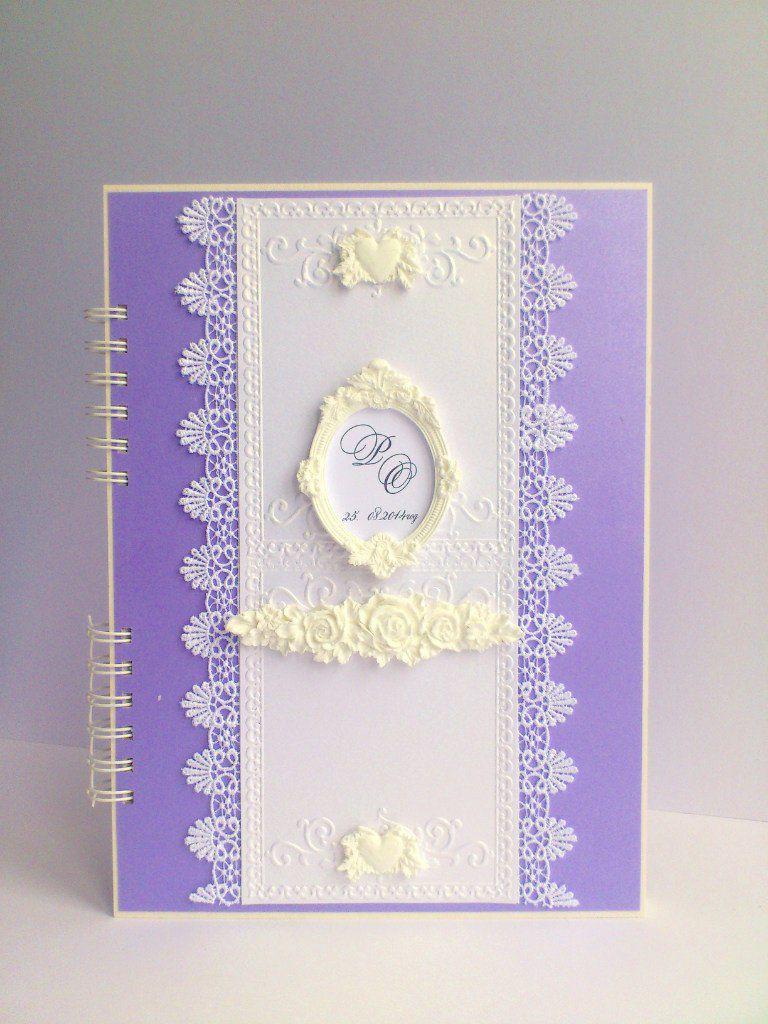 handmade wedding photo violet white album