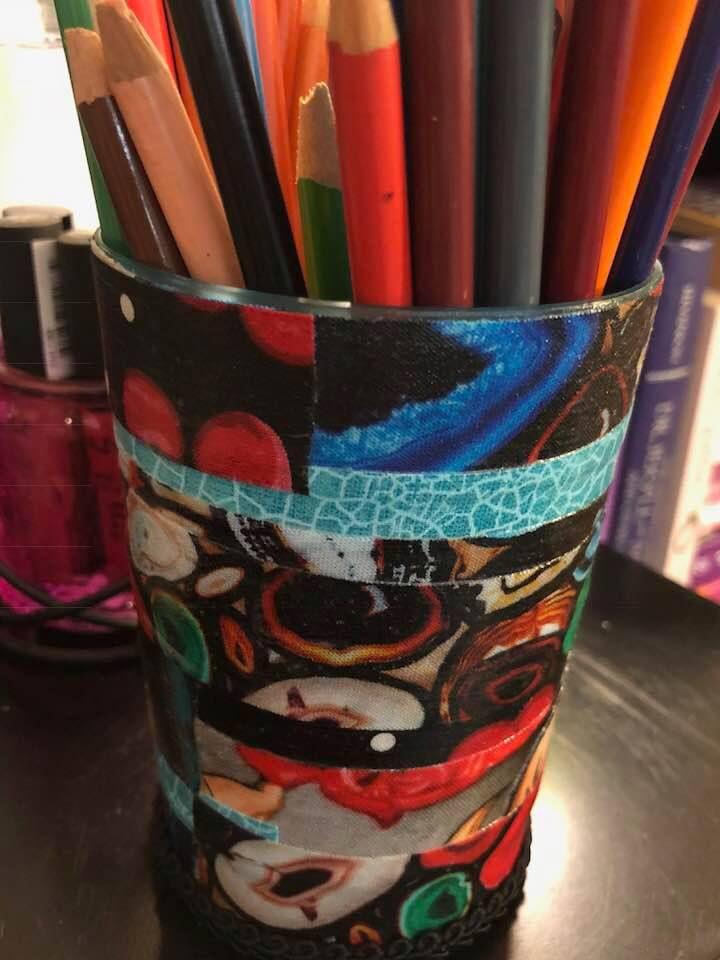 makesupbrushes rockabilly pencilpot sugarskull pencilcup organizer tattoo