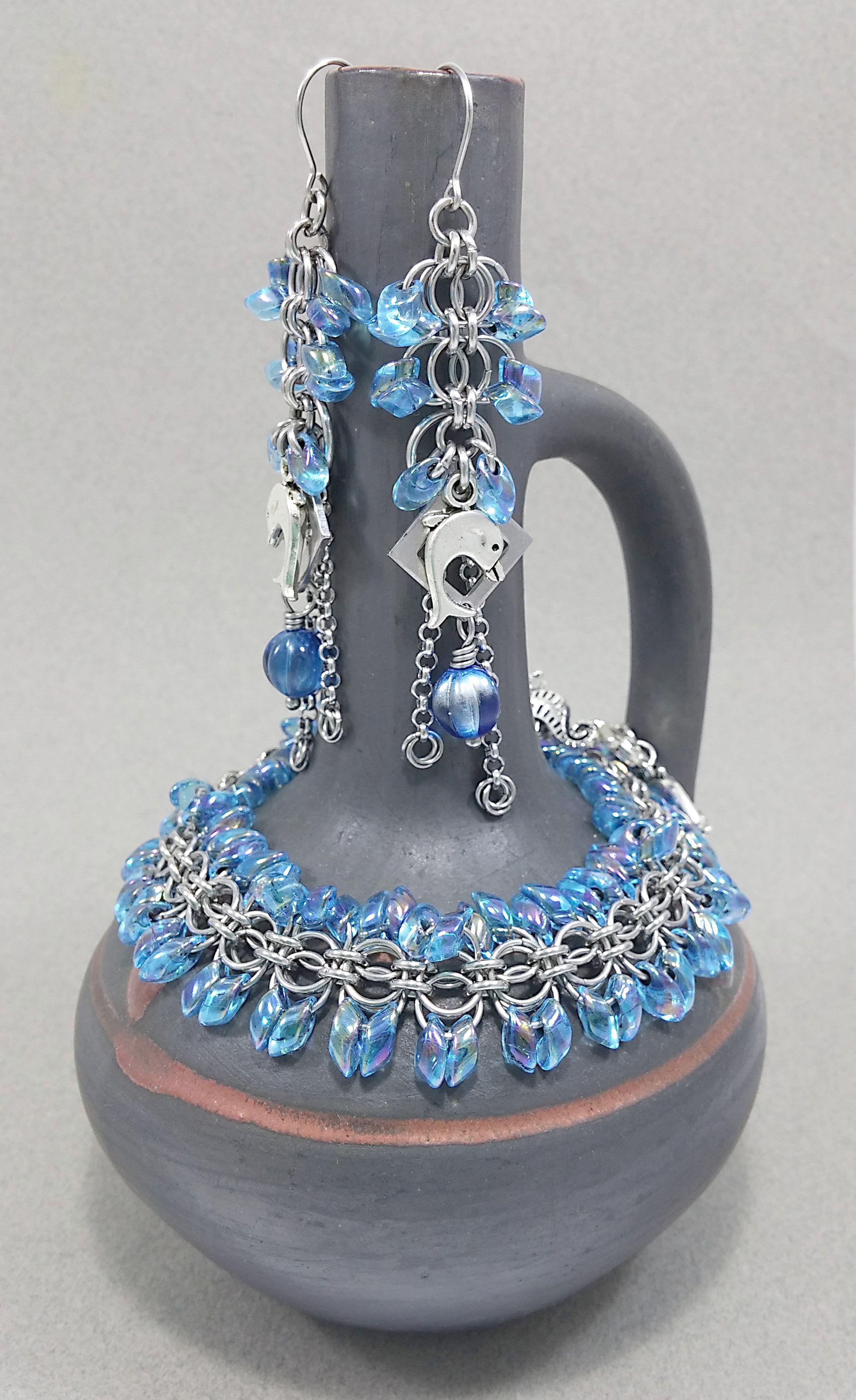 sea glass chainmail beach blue bracelet mermaid