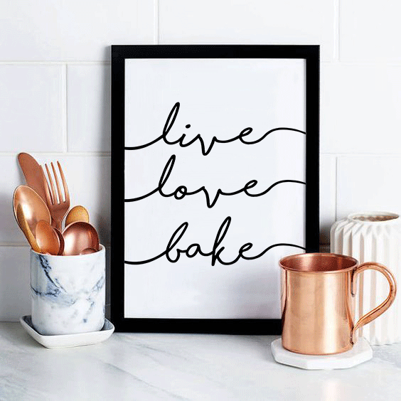 live baking decor digital gift kitchen bakery wall bake quote quotes print love art