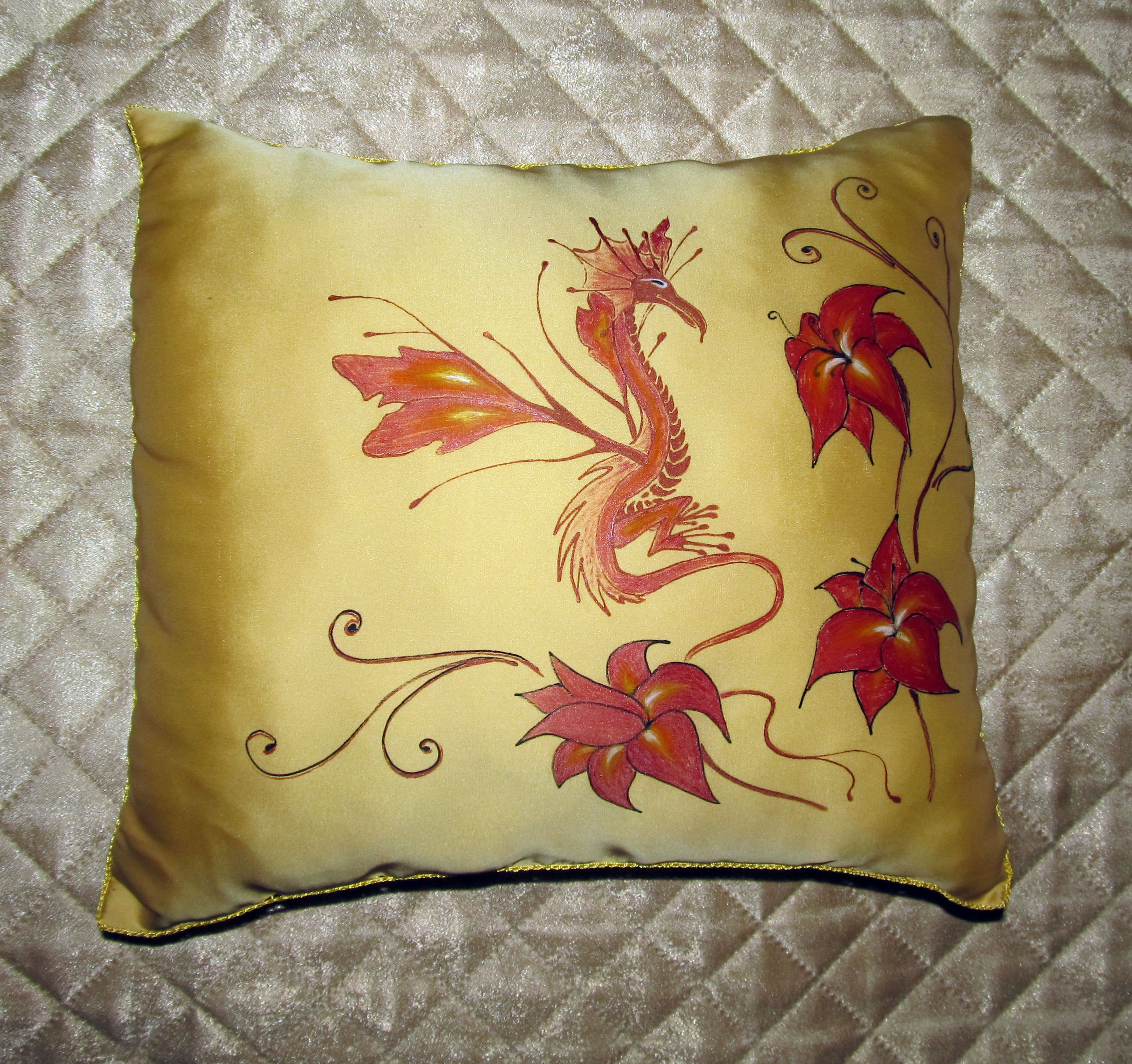 flower dragon interior pillow red