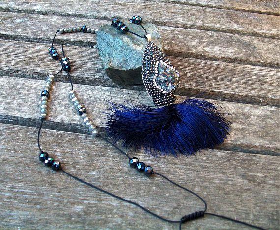 pendant long grey blue necklace tassel bead pave titanium