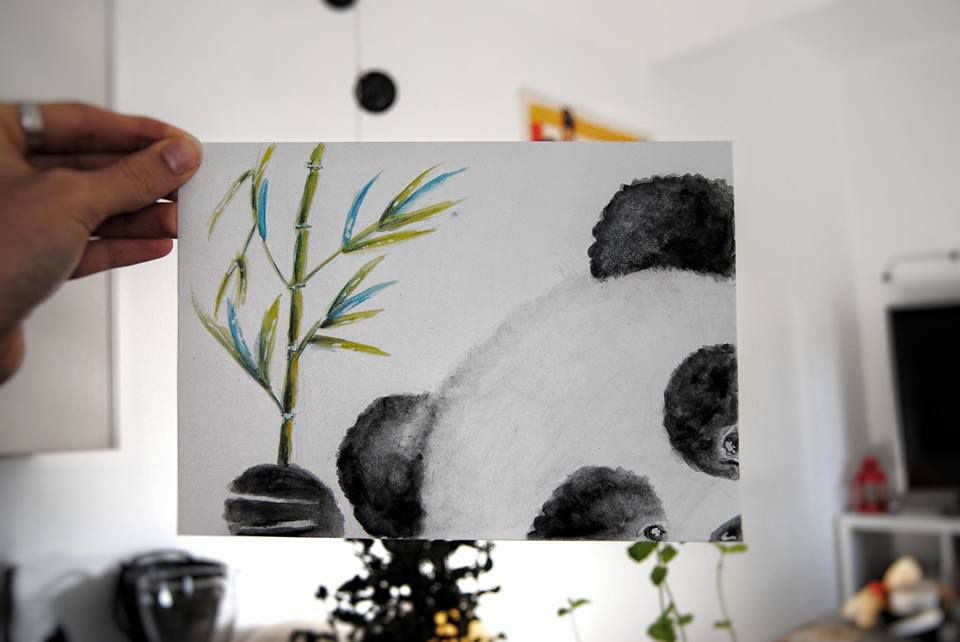 illustration decor baby home watercolor panda nursery collectibles drawing room bamboo painting art