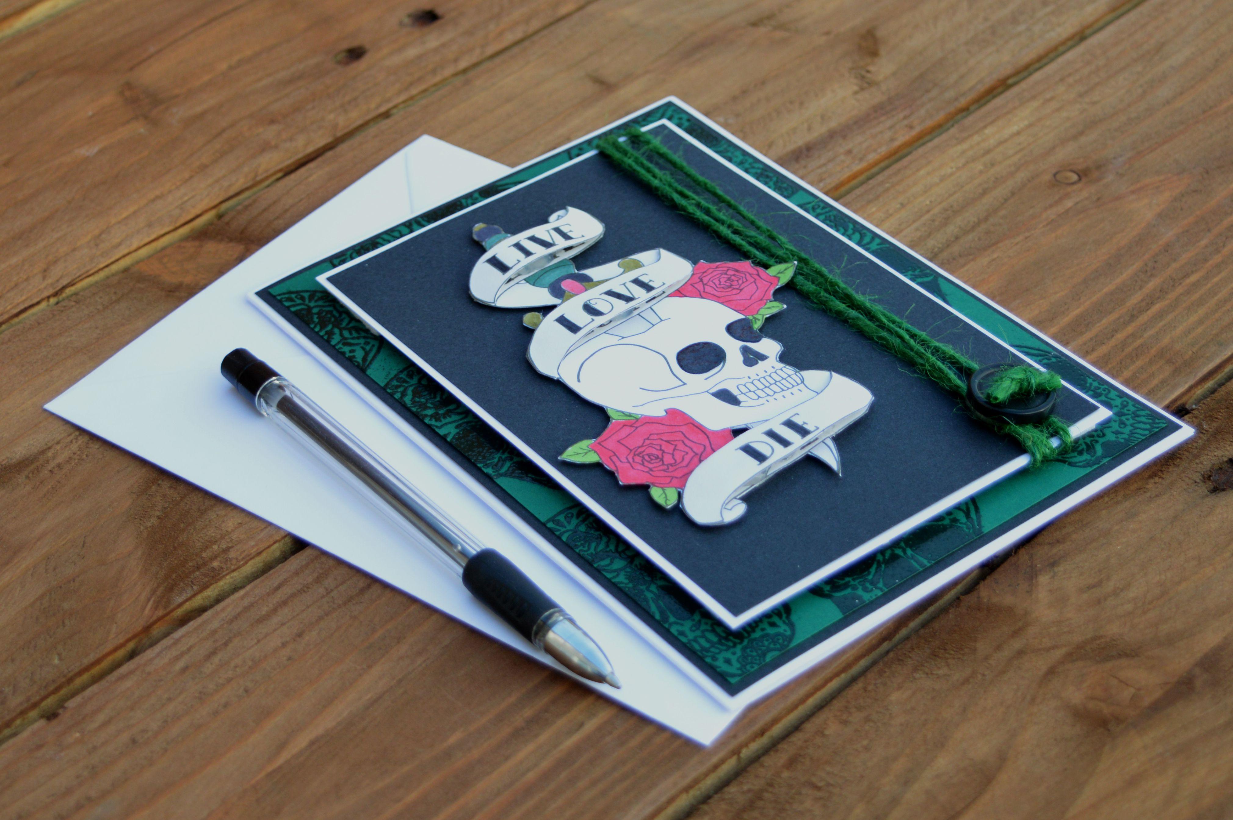 birthday card roses birthdaycard gift greetings green skull papercraft handmade dagger tattoo art