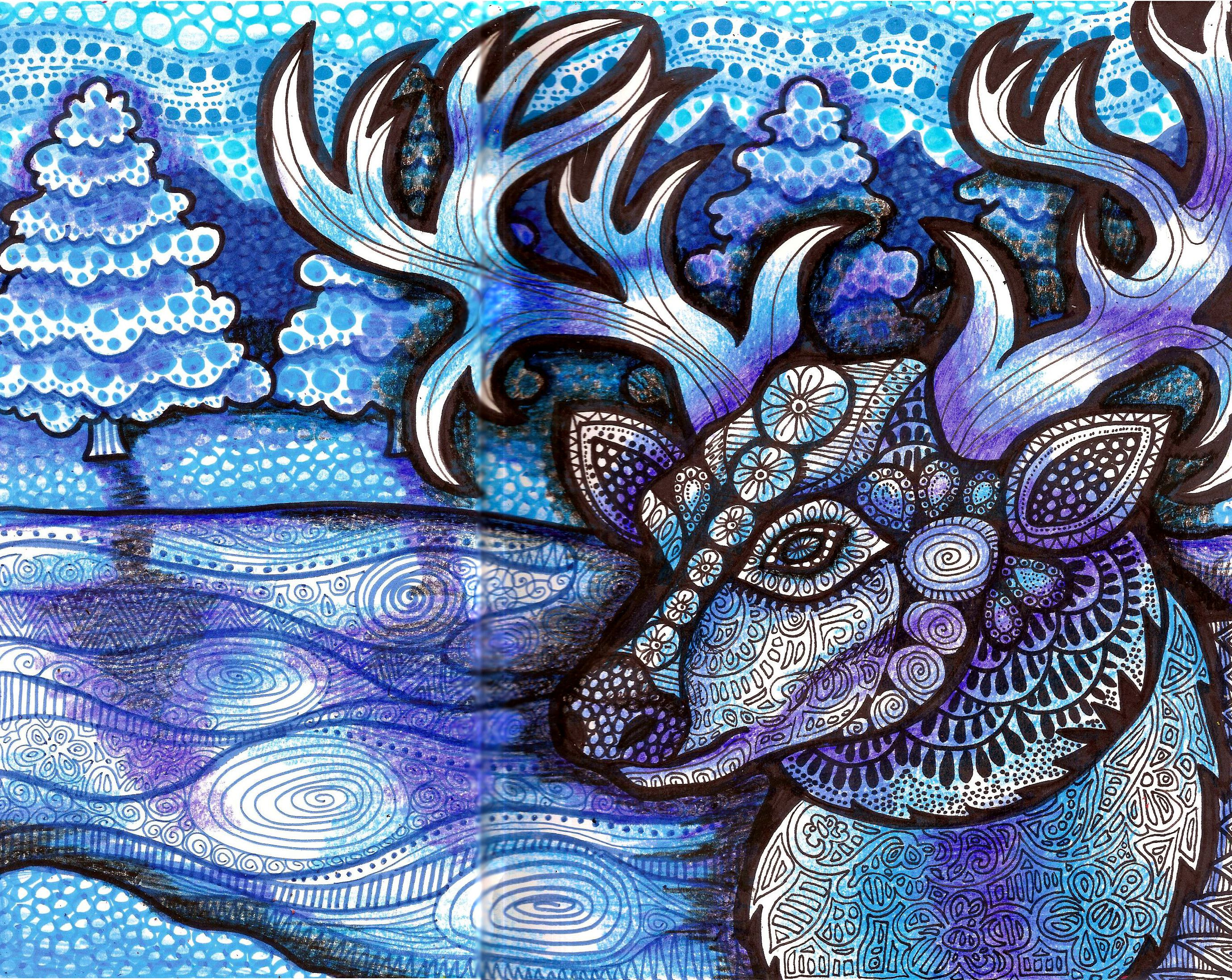 snowscape deer zentangle snow hgcreativearts blue drawing winter artwork art