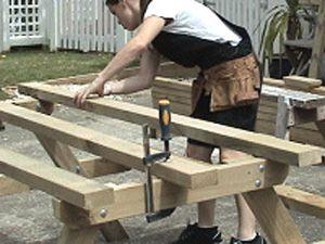 picnic wood make table gradually