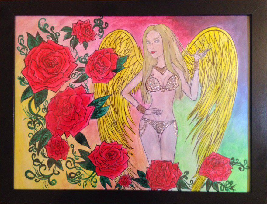 art rose painting woman angel